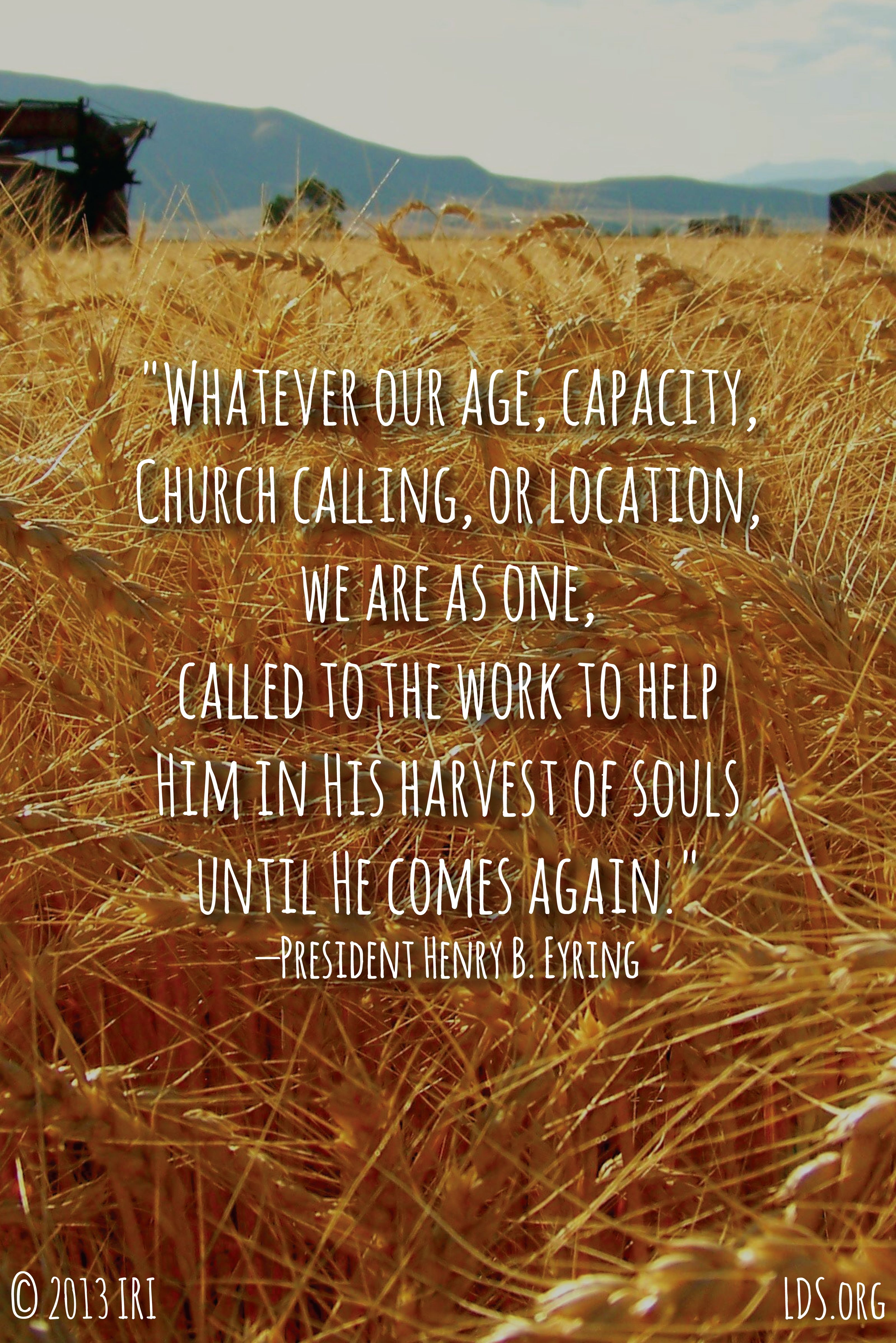 """Whatever our age, capacity, Church calling, or location, we are as one, called to the work to help Him in His harvest of souls until He comes again.""—President Henry B. Eyring, ""We Are One"""