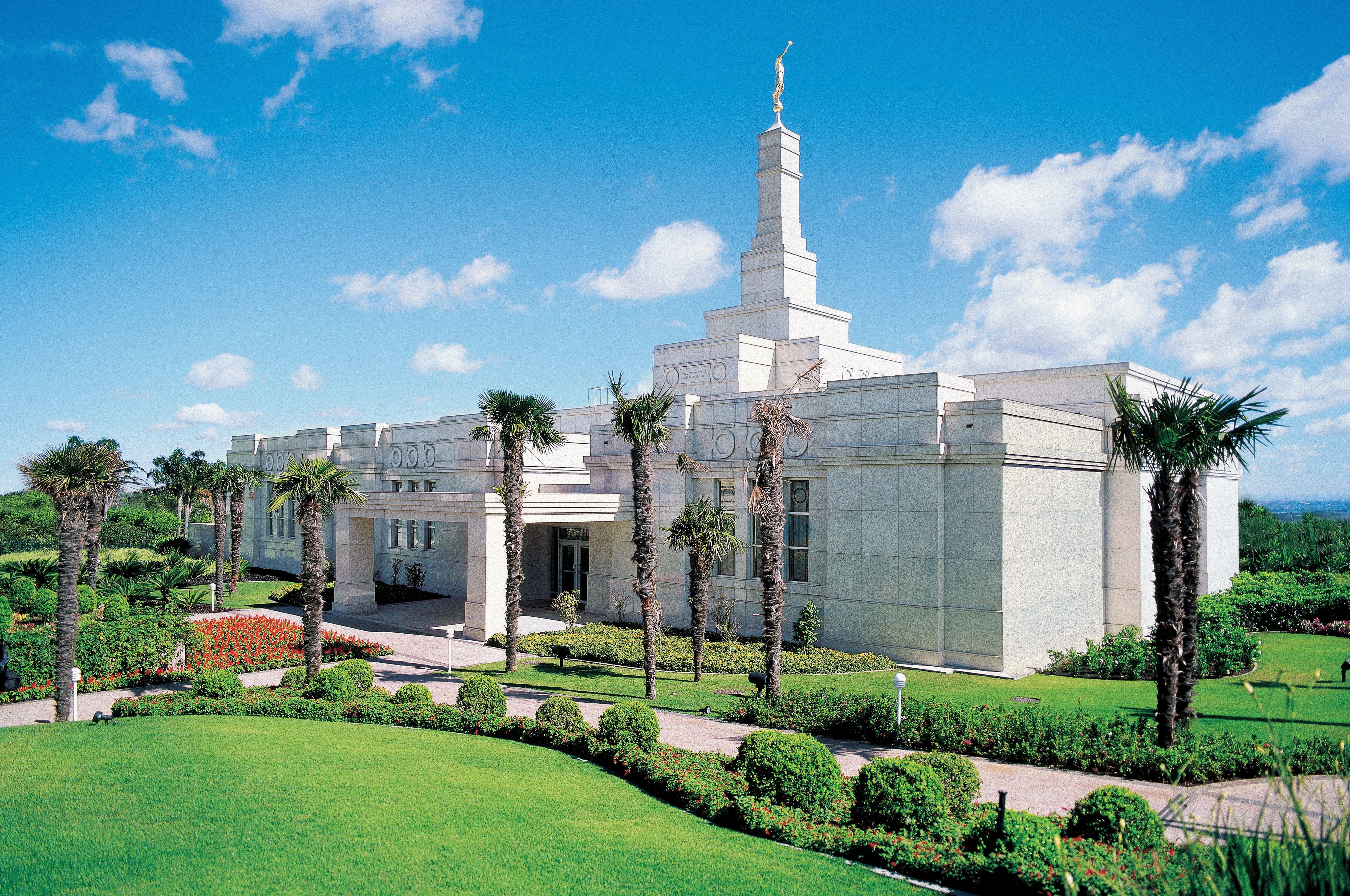 The Porto Alegre Brazil Temple, including the entrance and scenery.