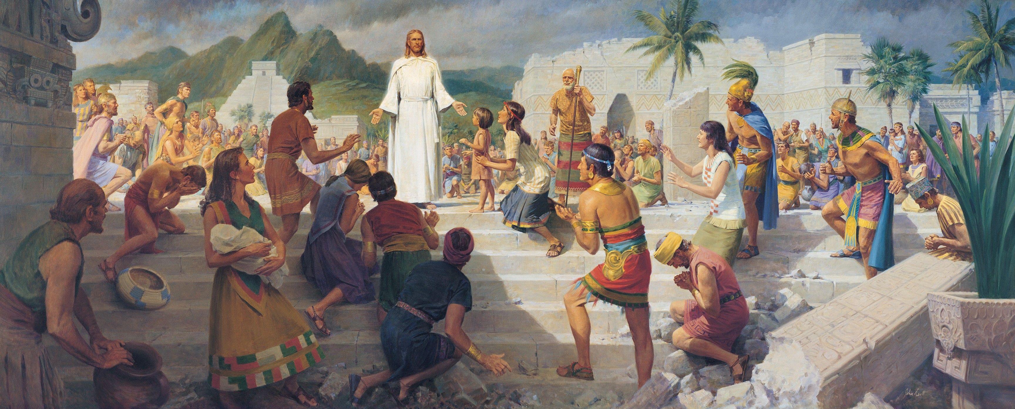 Jesus Teaching in the Western Hemisphere (Jesus Christ Visits the Americas), by John Scott (62380); GAK 316; GAB 82; Primary manual 1-44; Primary manual 3-17; Primary manual 4-45; 3 Nephi 11:8–41; 12:12–26
