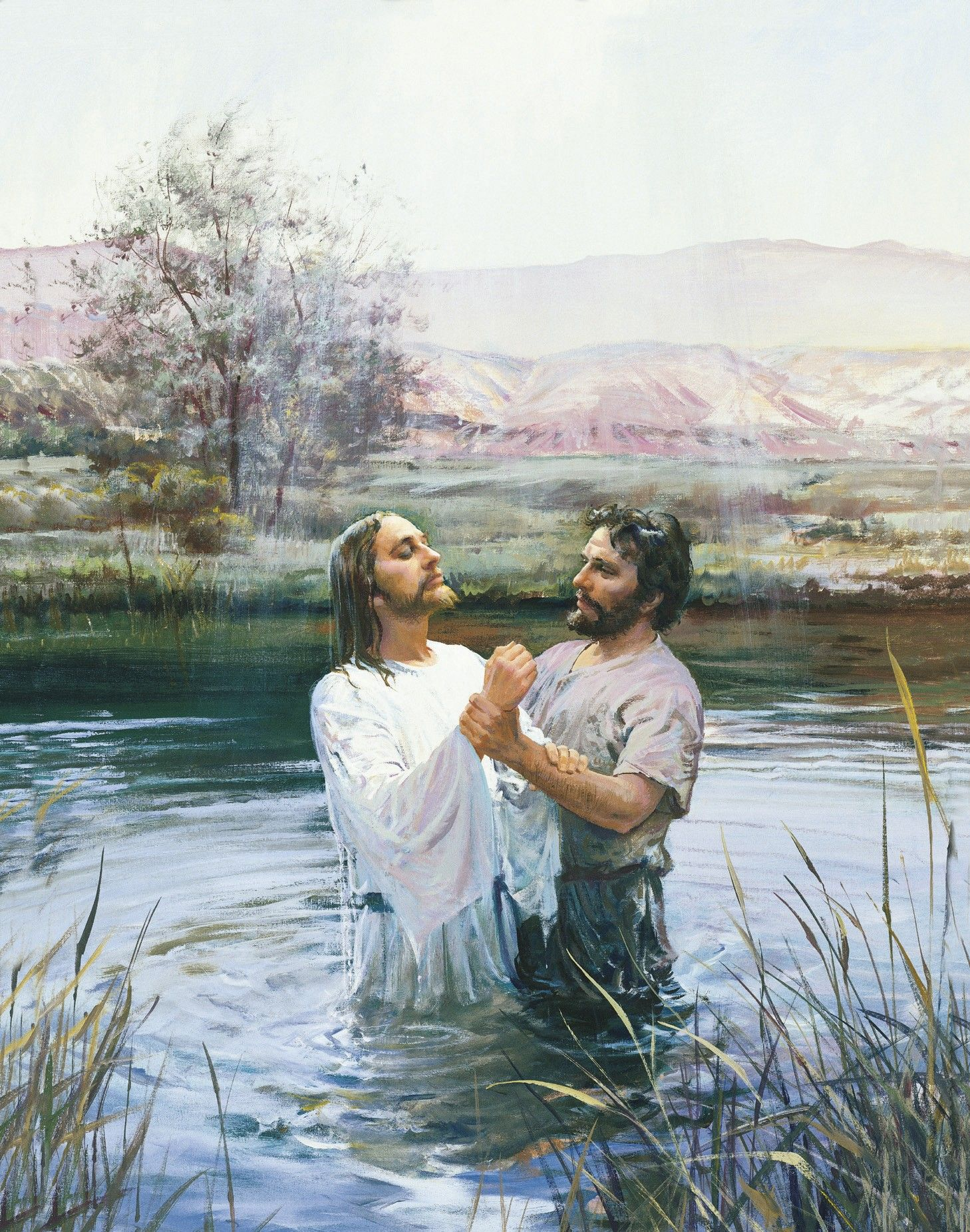 John the Baptist Baptizing Jesus (John Baptizing Jesus), by Harry Anderson (62133); GAK 208; GAB 35; Primary manual 1-18; Primary manual 2-19; Primary manual 3-01; Primary manual 7-07; Matthew 3:13–17; Joseph Smith Translation, Matthew 3:43–46 (in the Bible appendix); Mark 1:9–11; 2 Nephi 31:4–13