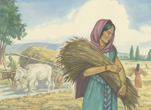woman carrying wheat