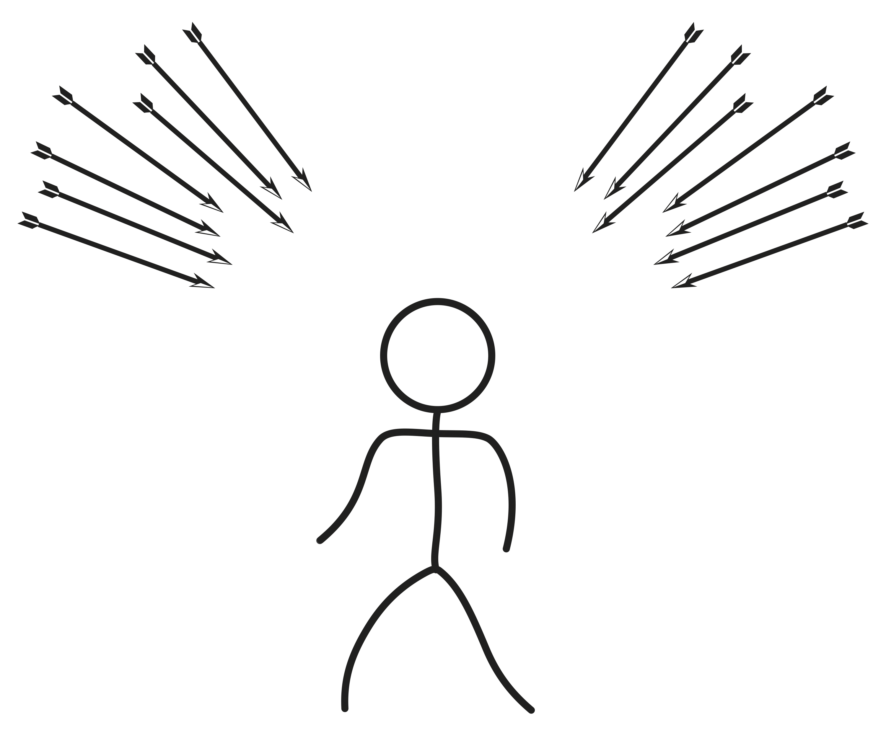 A stick figure drawing of a person surrounded by arrows.