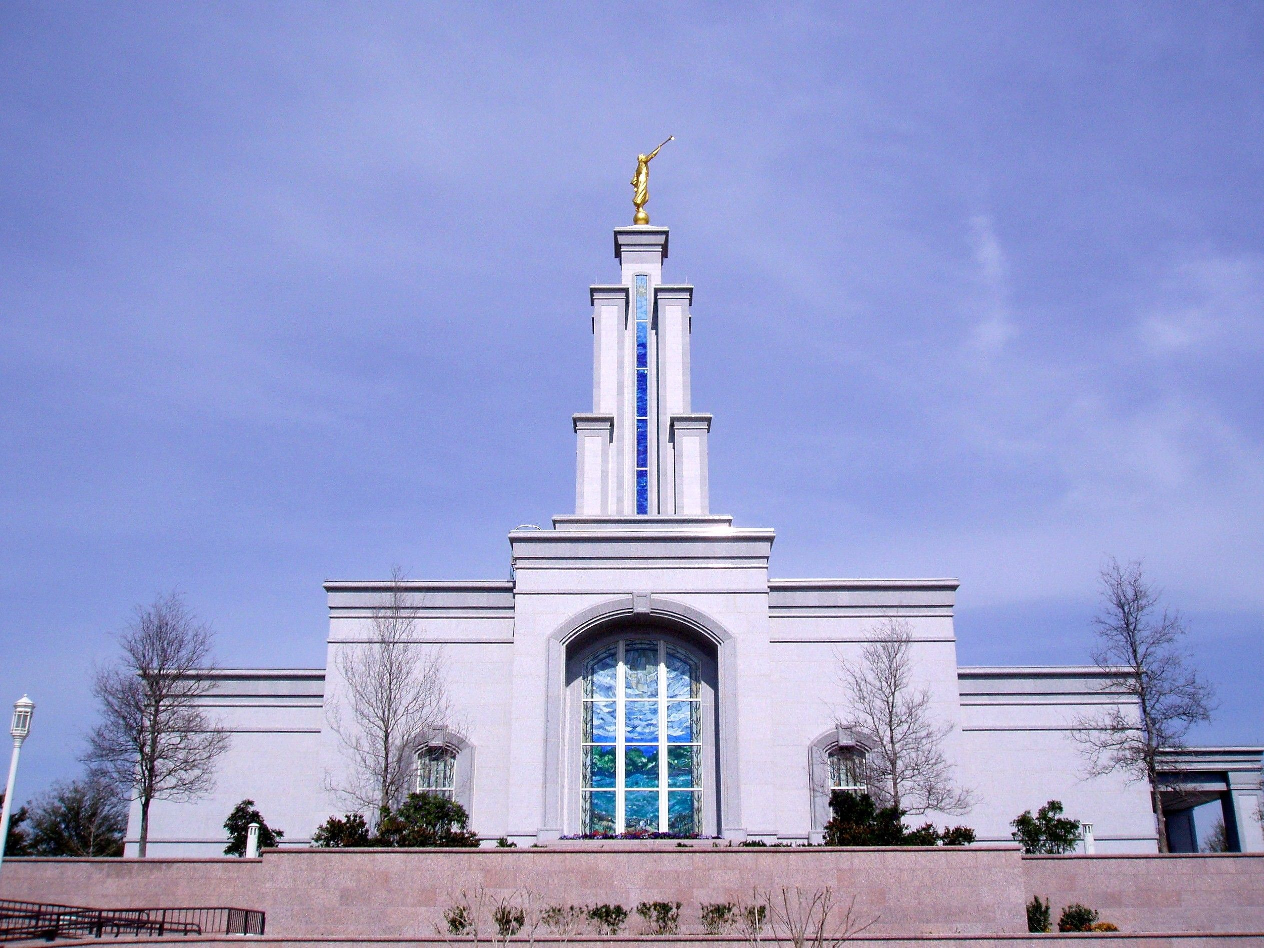 The San Antonio Texas Temple south view, including the windows and scenery.