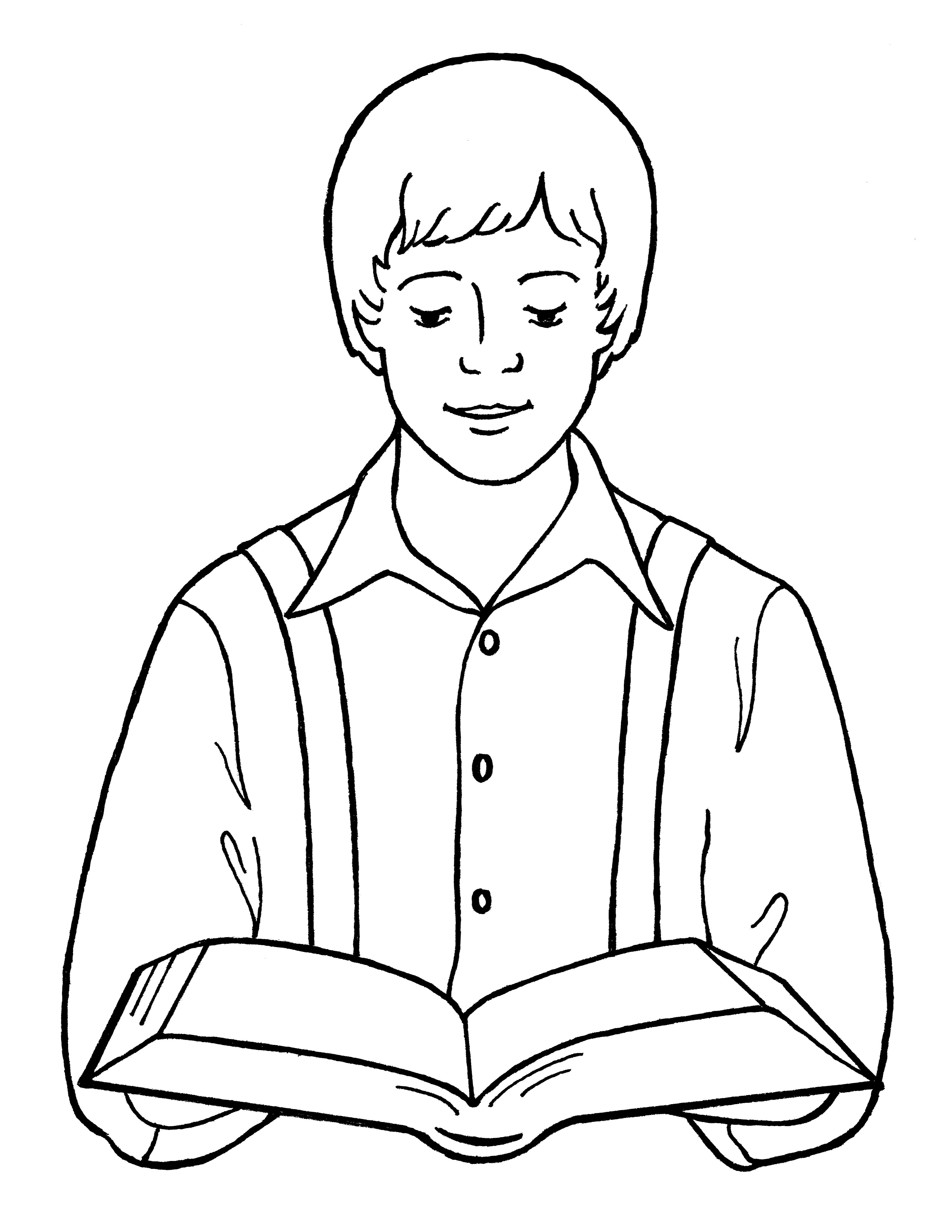 An illustration of Joseph Smith reading the scriptures, from the nursery manual Behold Your Little Ones (2008), page 91.
