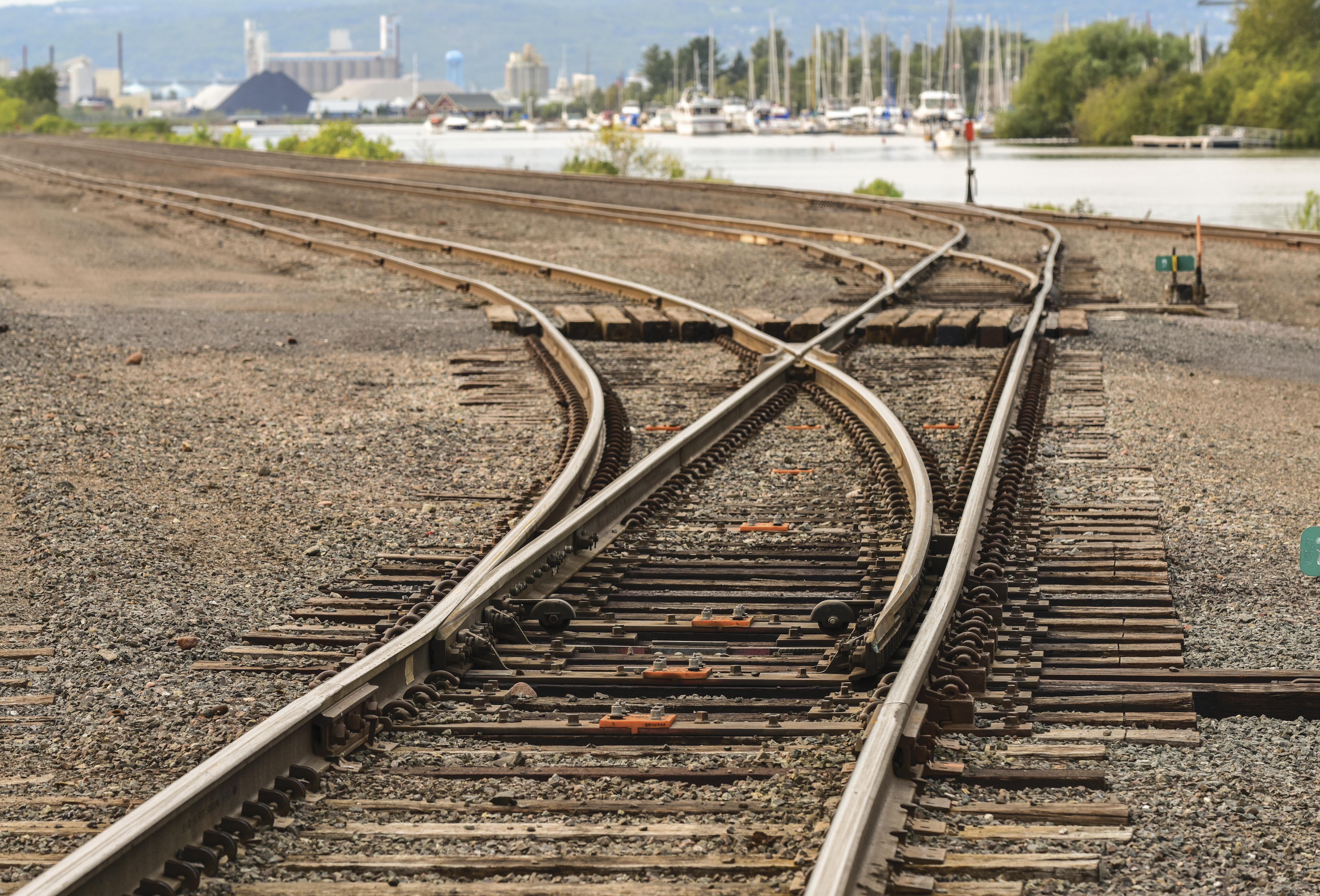 A switch in a railway line in a rail yard.