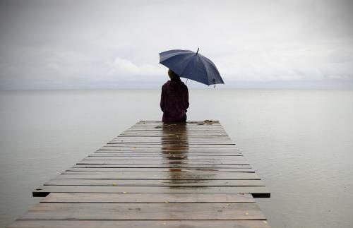 Rainy day on a pier
