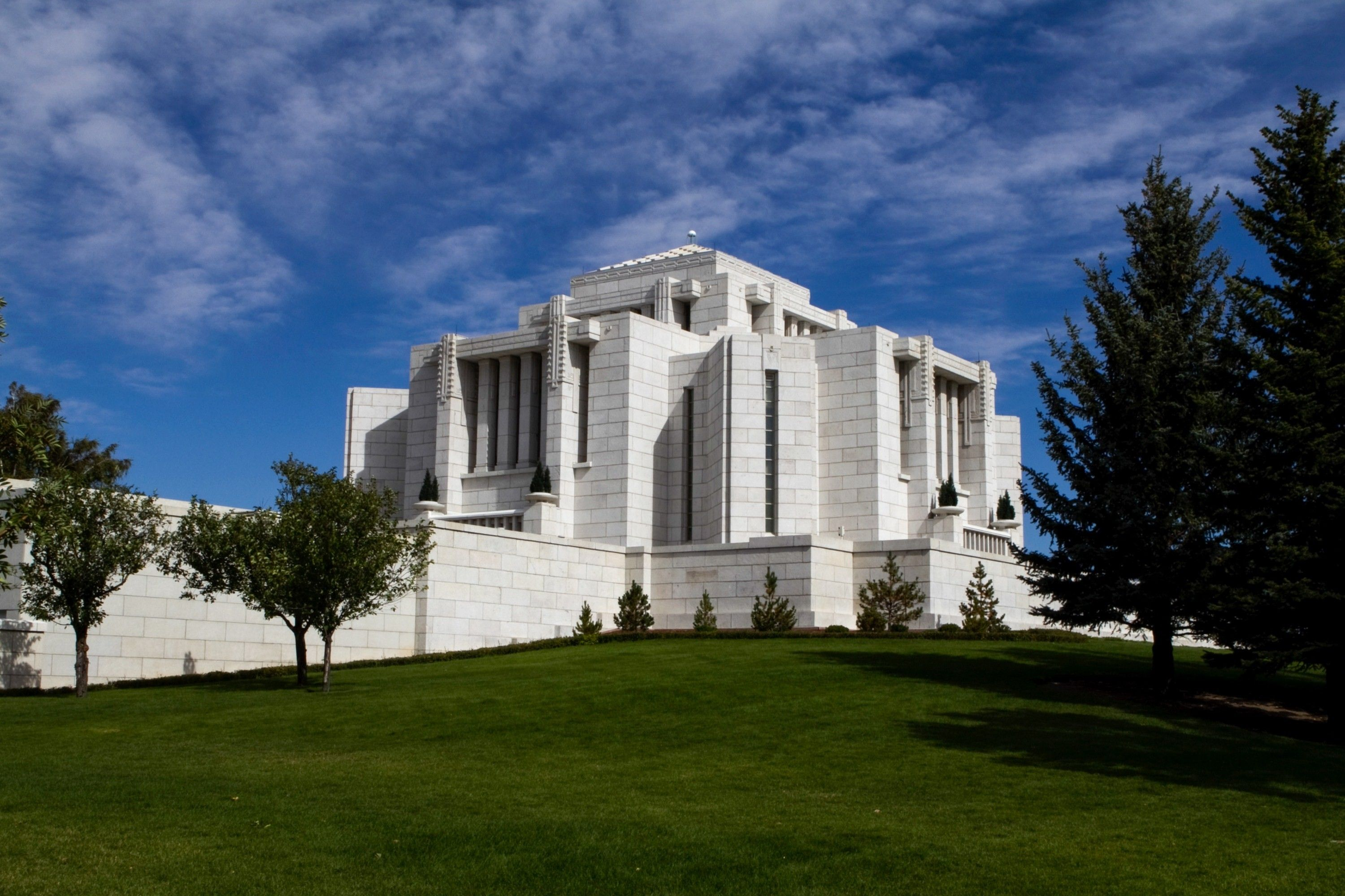 A side view of the Cardston Alberta Temple, including scenery.