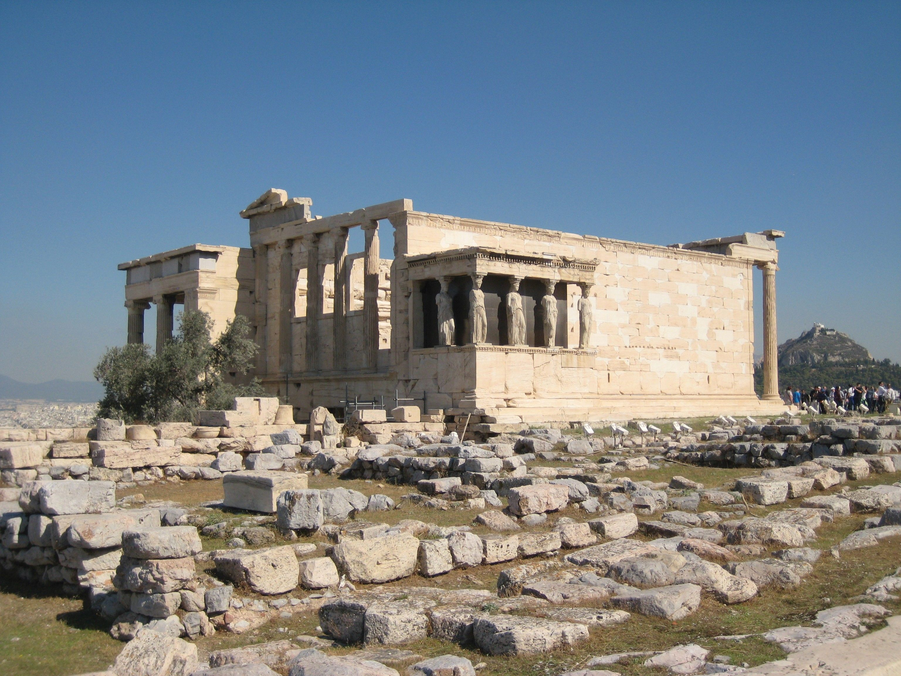 The Erechtheion was a Greek temple built in the late fifth century BC on the north site of the Acropolis.