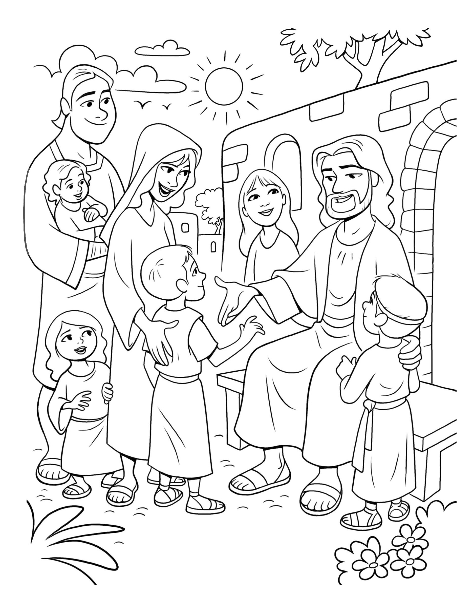 Christ sits and meets with children.