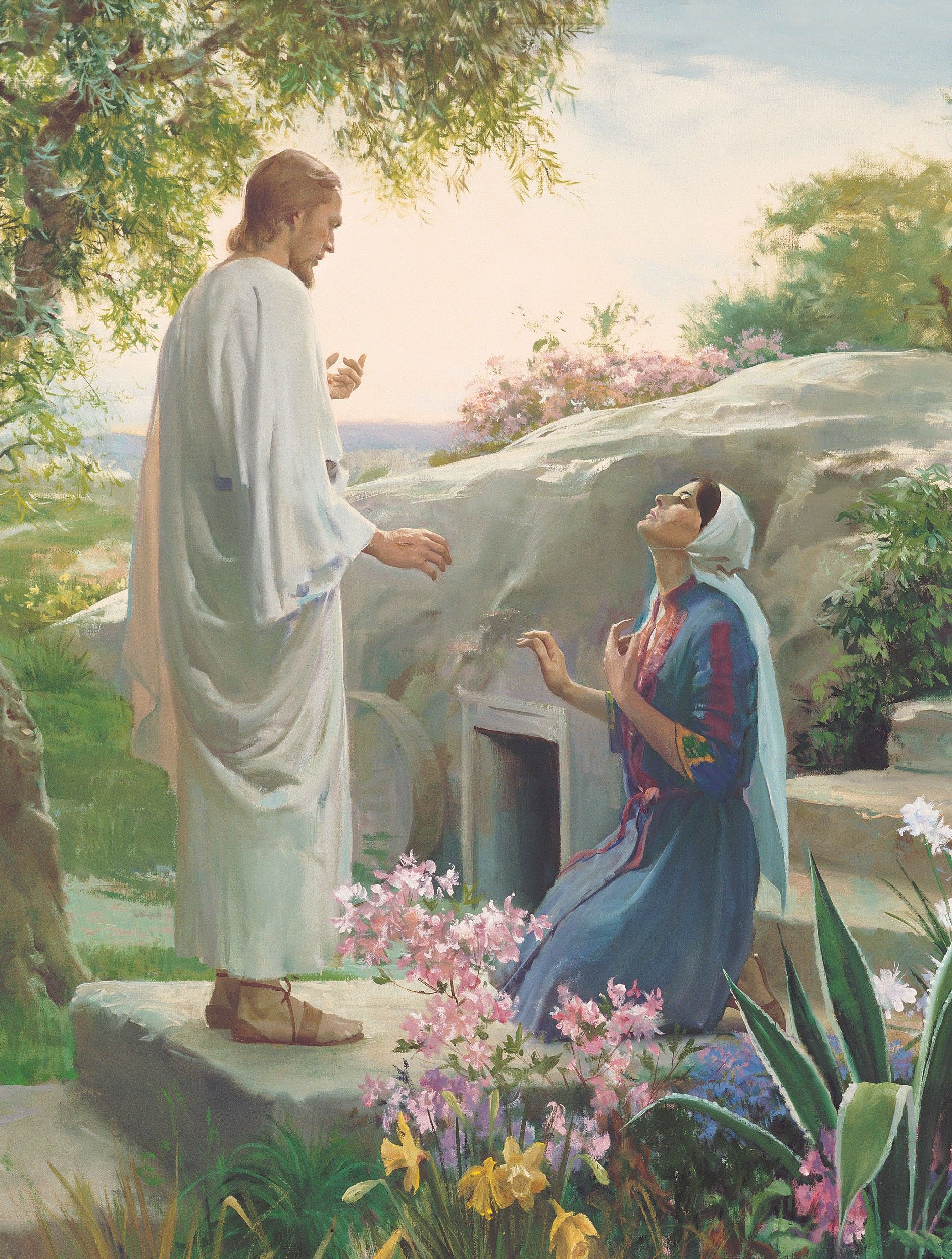Mary and the Resurrected Lord, by Harry Anderson (62186); GAK 233; nursery manual lesson 29, page 122; Primary manual 2-62; Primary manual 7-36; Isaiah 25:8; John 20:10–18