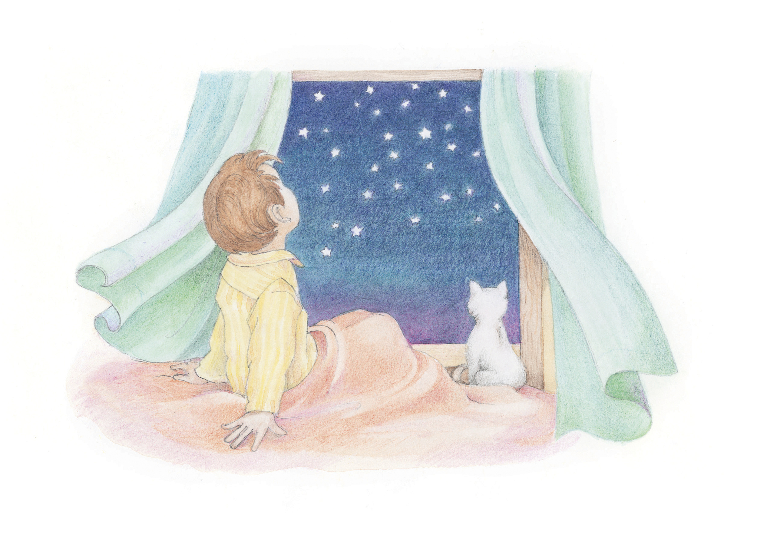 """A boy and his cat looking out the window at the night sky. From the Children's Songbook, page 8, """"Father, We Thank Thee for the Night""""; watercolor illustration by Phyllis Luch."""