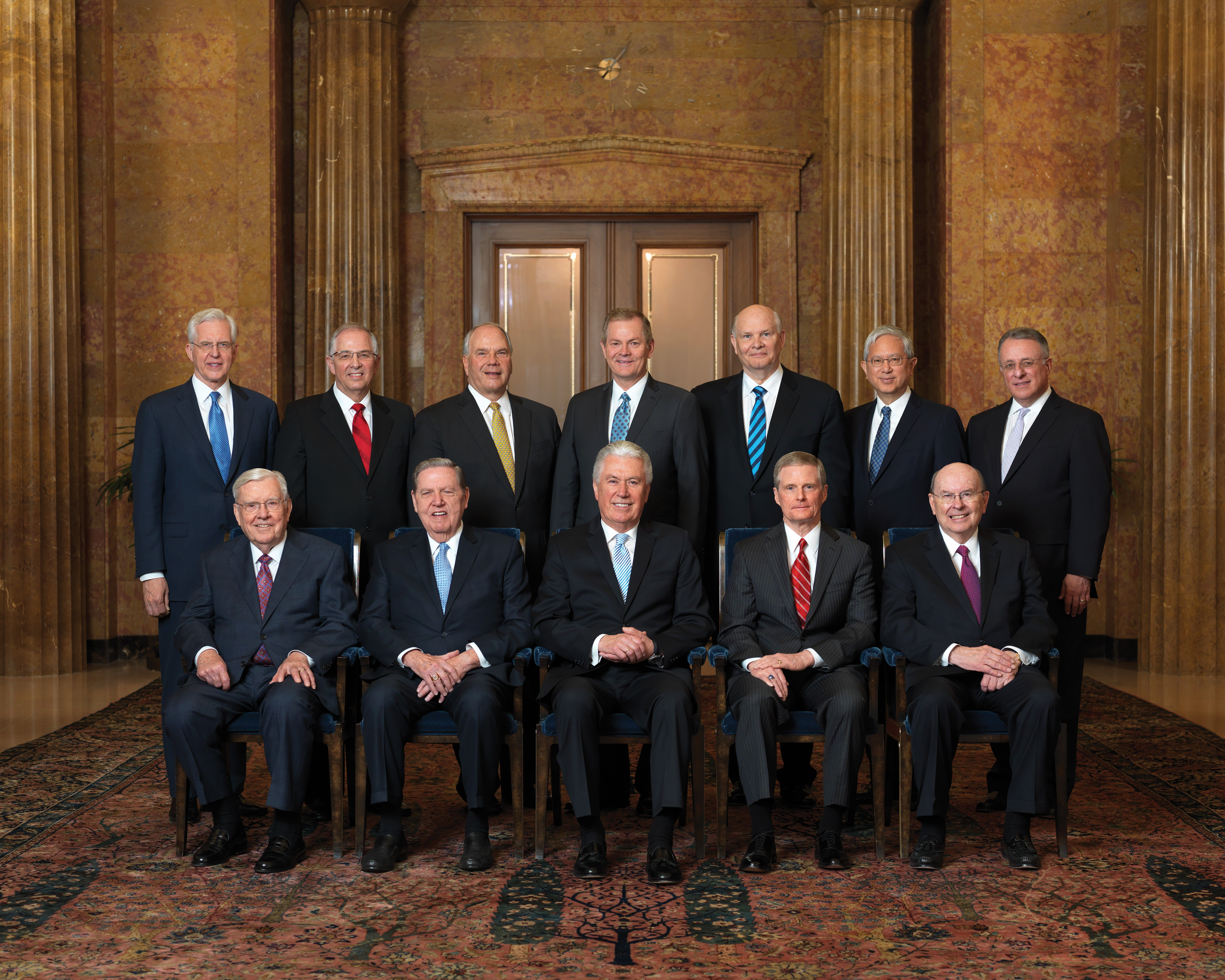 The official group portrait of the Quorum of the Twelve Apostles of The Church of Jesus Christ of Latter-day Saints, photographed April 2018. Front row, left to right: President M. Russell Ballard and Elders Jeffrey R. Holland, Dieter F. Uchtdorf, David A. Bednar, and Quentin L. Cook. Back row, left to right: Elders D. Todd Christofferson, Neil L. Andersen, Ronald A. Rasband, Gary E. Stevenson, Dale G. Renlund, Gerrit W. Gong, and Ulisses Soares.