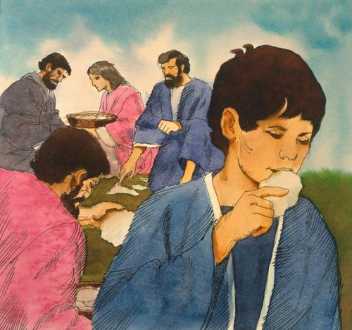 Israelite boy eating manna