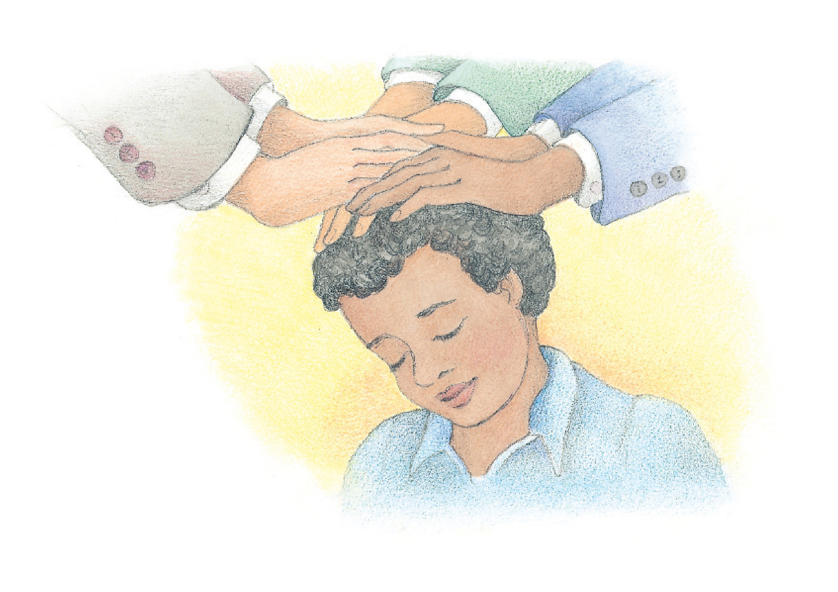 "A young boy being confirmed a member of the Church. From the Children's Songbook, page 105, ""The Holy Ghost""; watercolor illustration by Phyllis Luch."