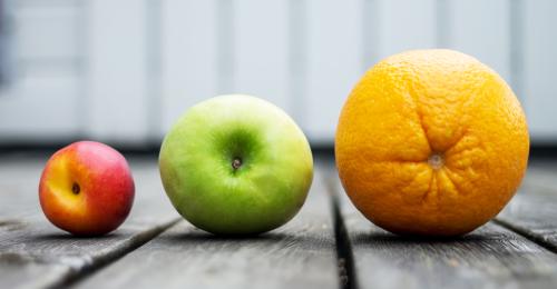 Orange, Apple, Plum