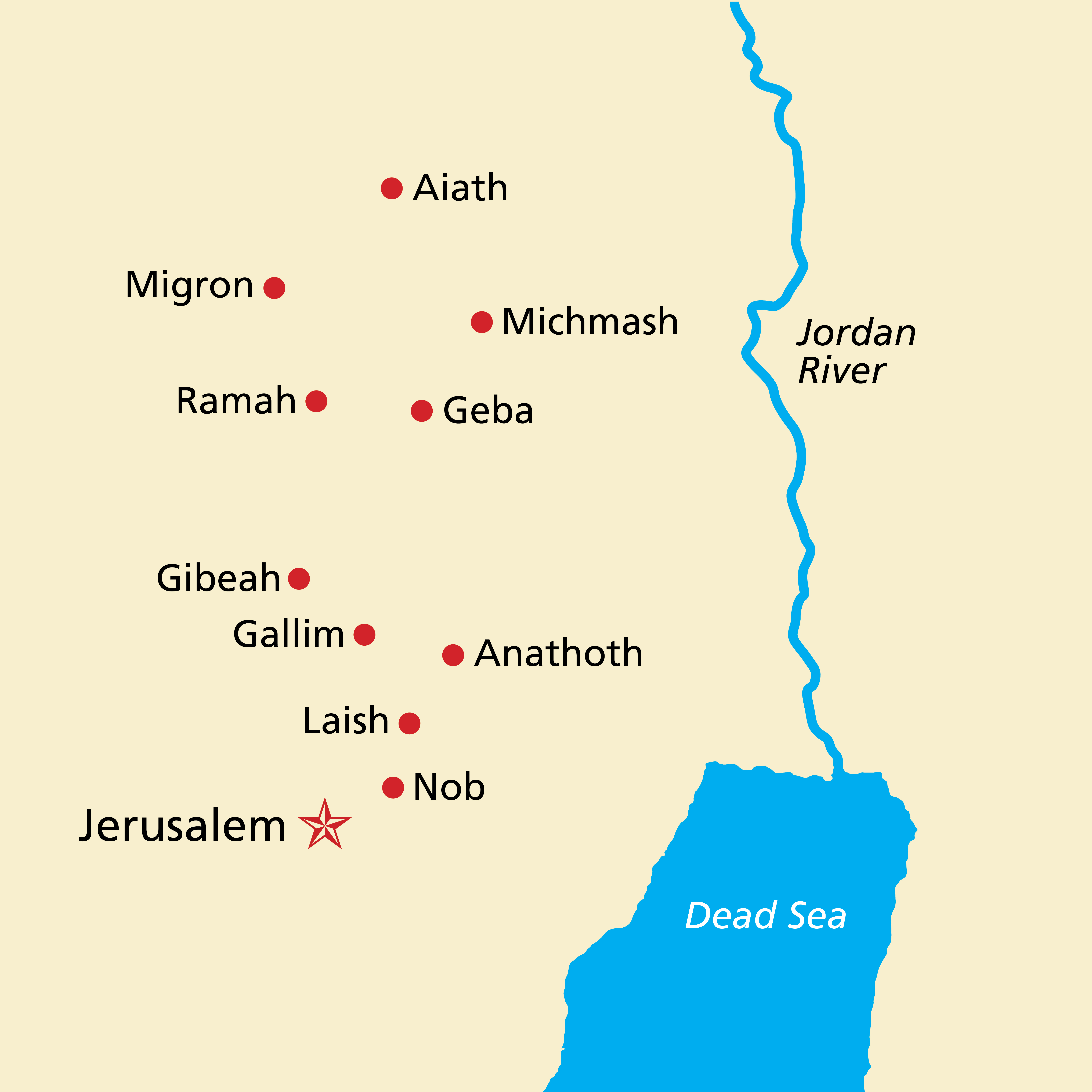 A map of the Holy Land, including Jerusalem, the Dead Sea, and the Jordan River.
