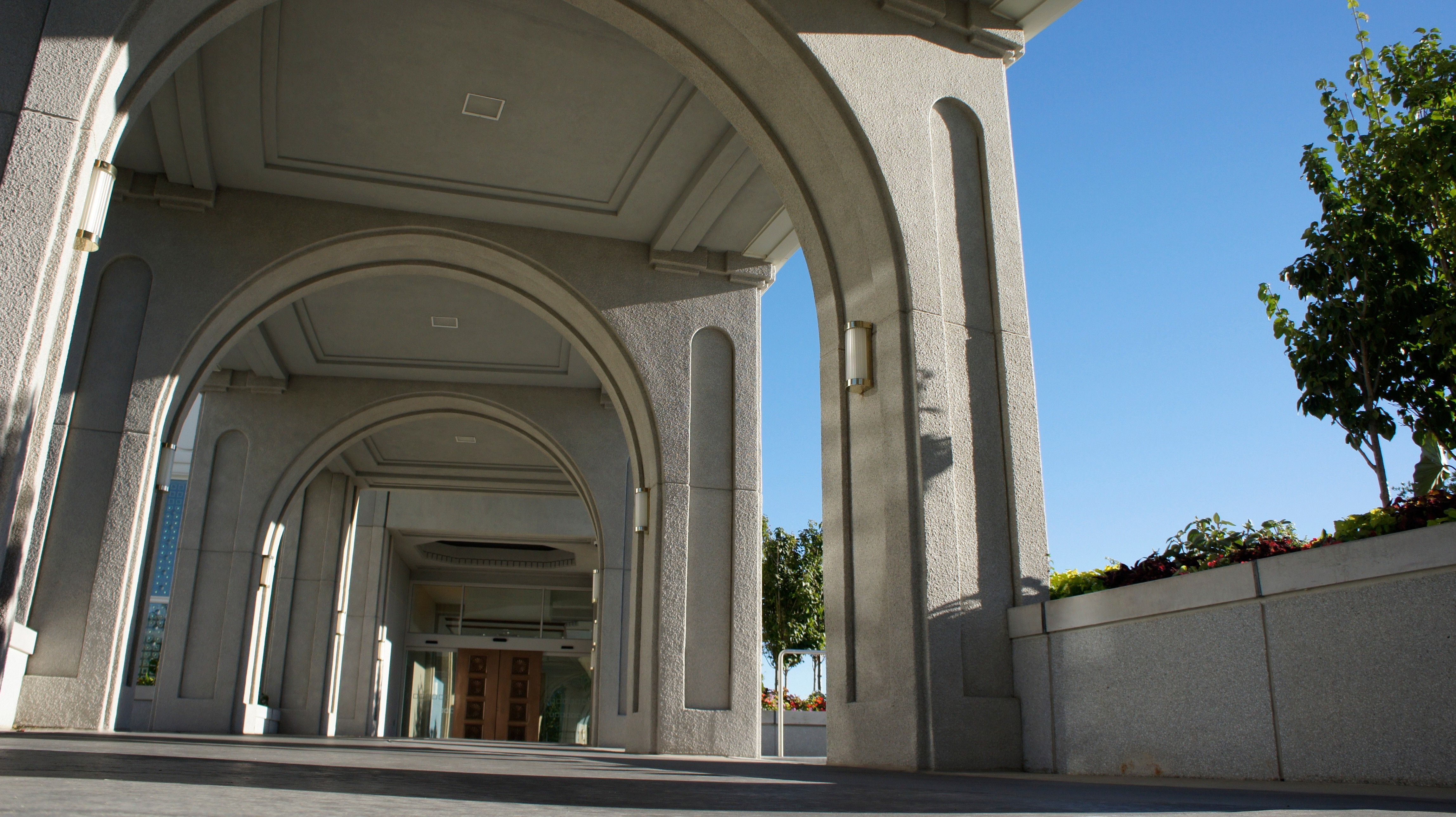 The Mount Timpanogos Utah Temple entrance, including the exterior of the temple.