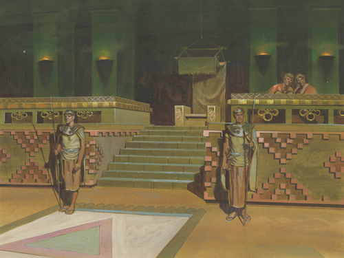 palace throne and guards