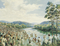 A painting by Sidney King showing a large throng of people going down into a river to be baptized.