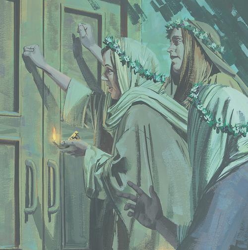 women knocking on door