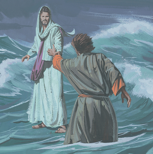Jesus saving Peter