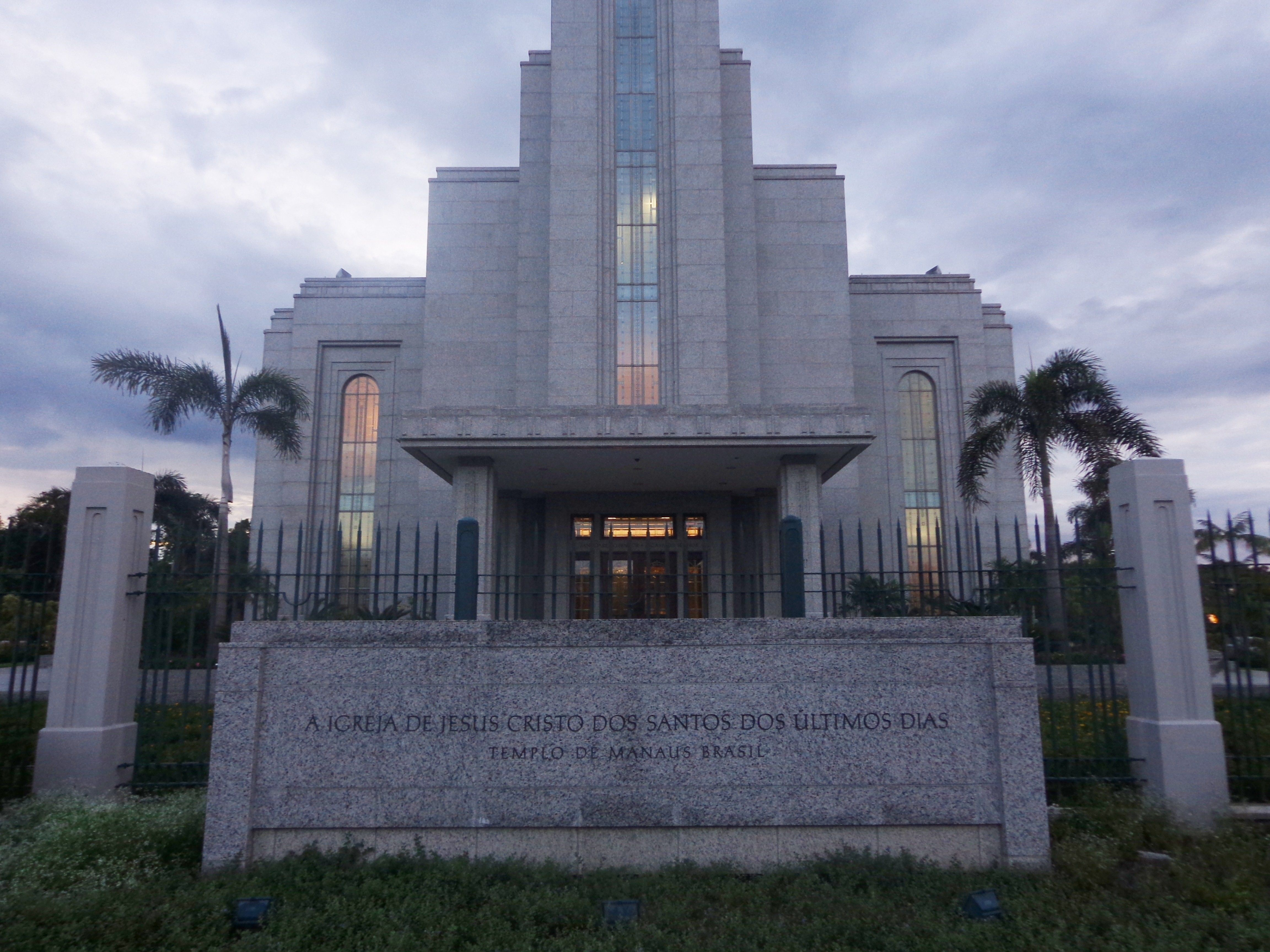 The Manaus Brazil Temple name sign, including the entrance and exterior of the temple.