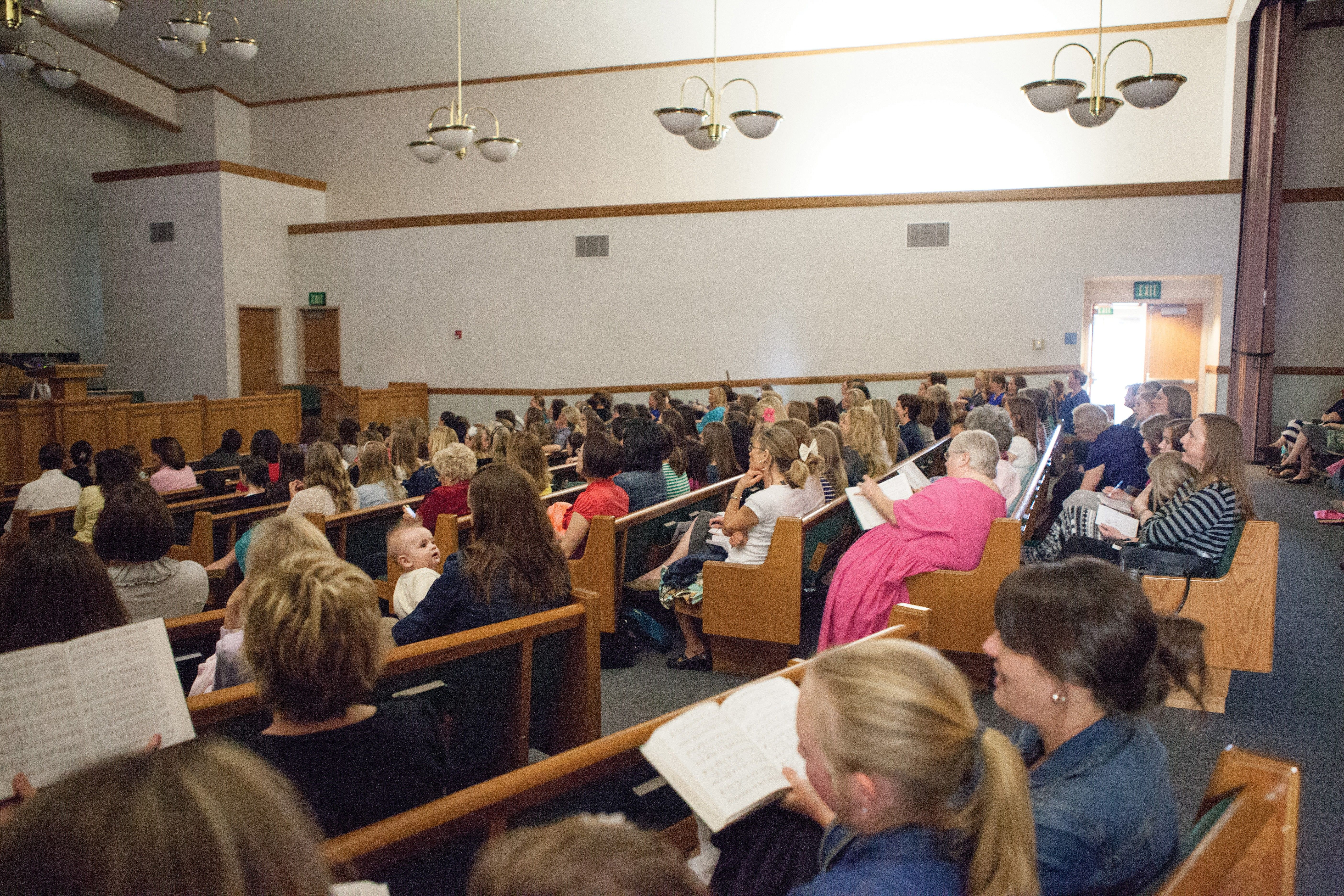 Women attending the general women's session of general conference in Highlands Ranch, Colorado.