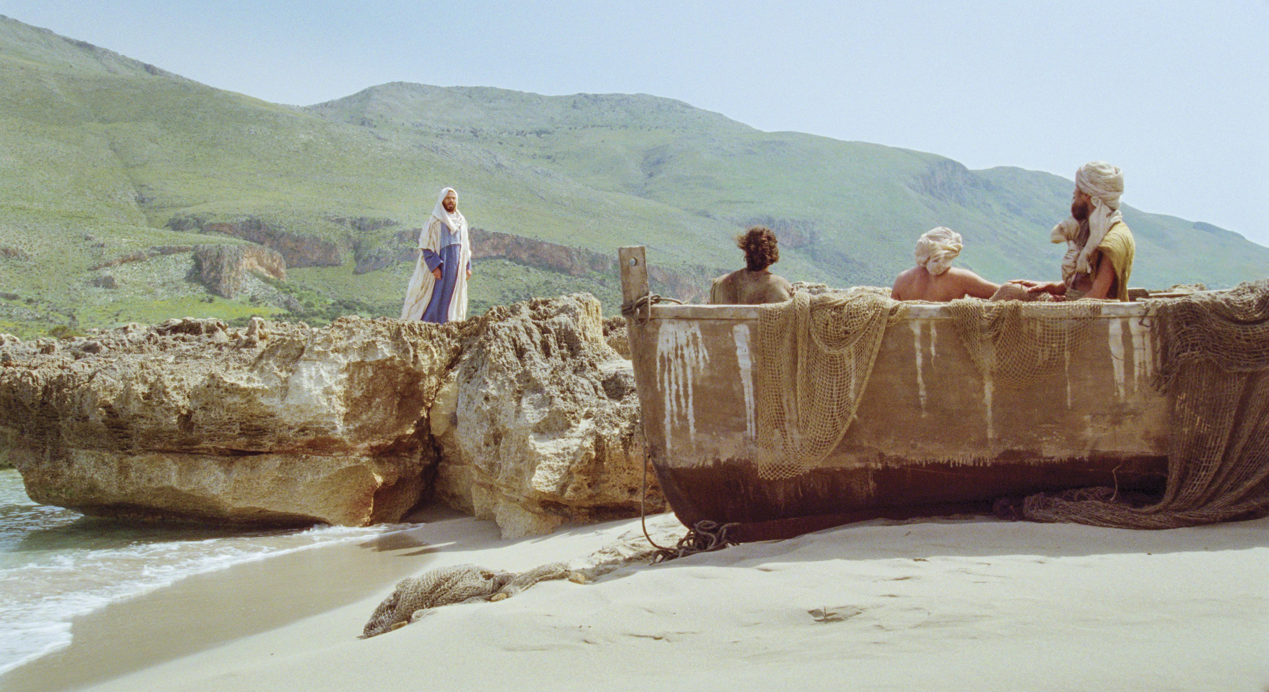 Jesus instructs James, John, and Zebedee.