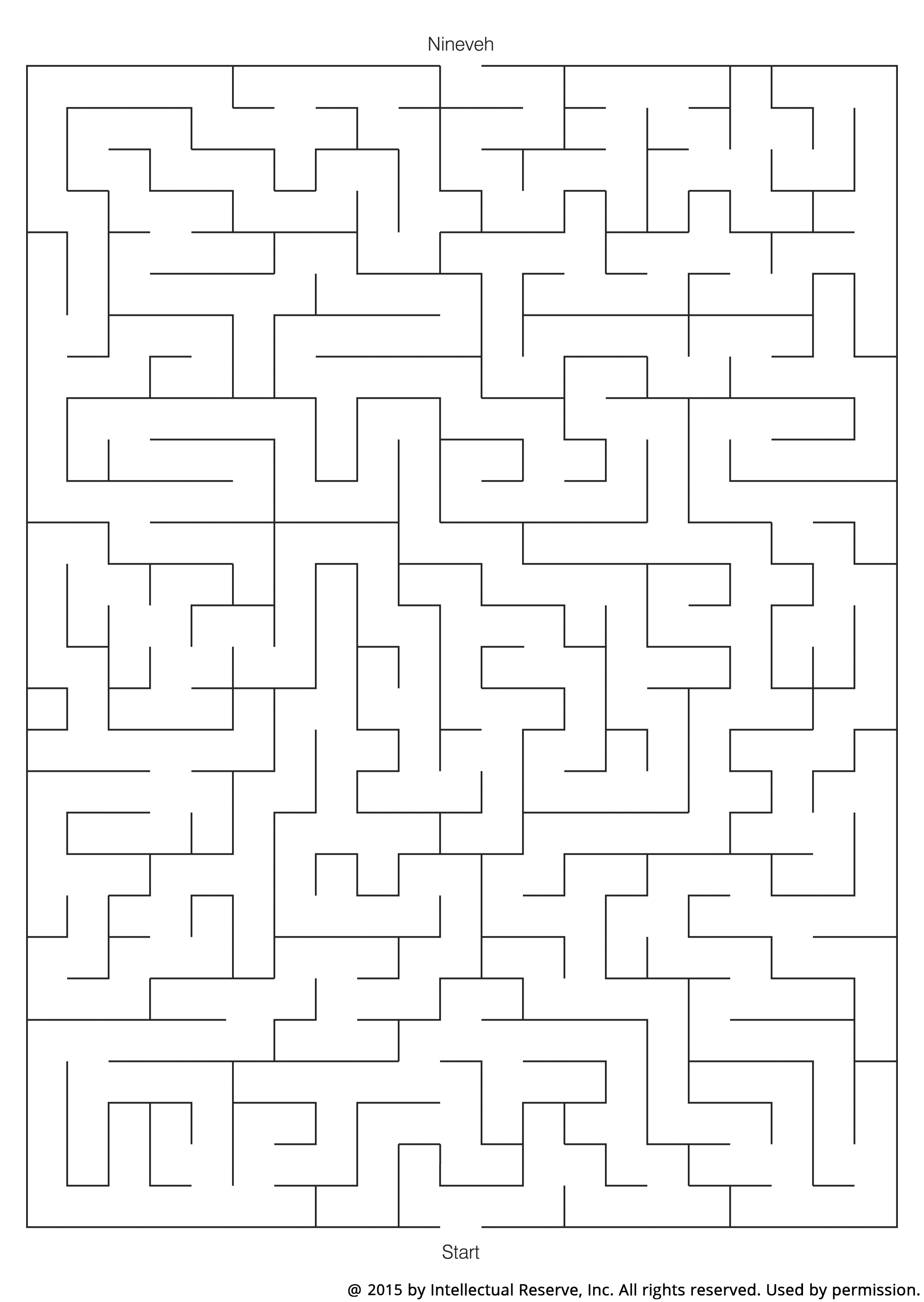 A simple line maze to help children draw a path for Jonah to travel to Nineveh.