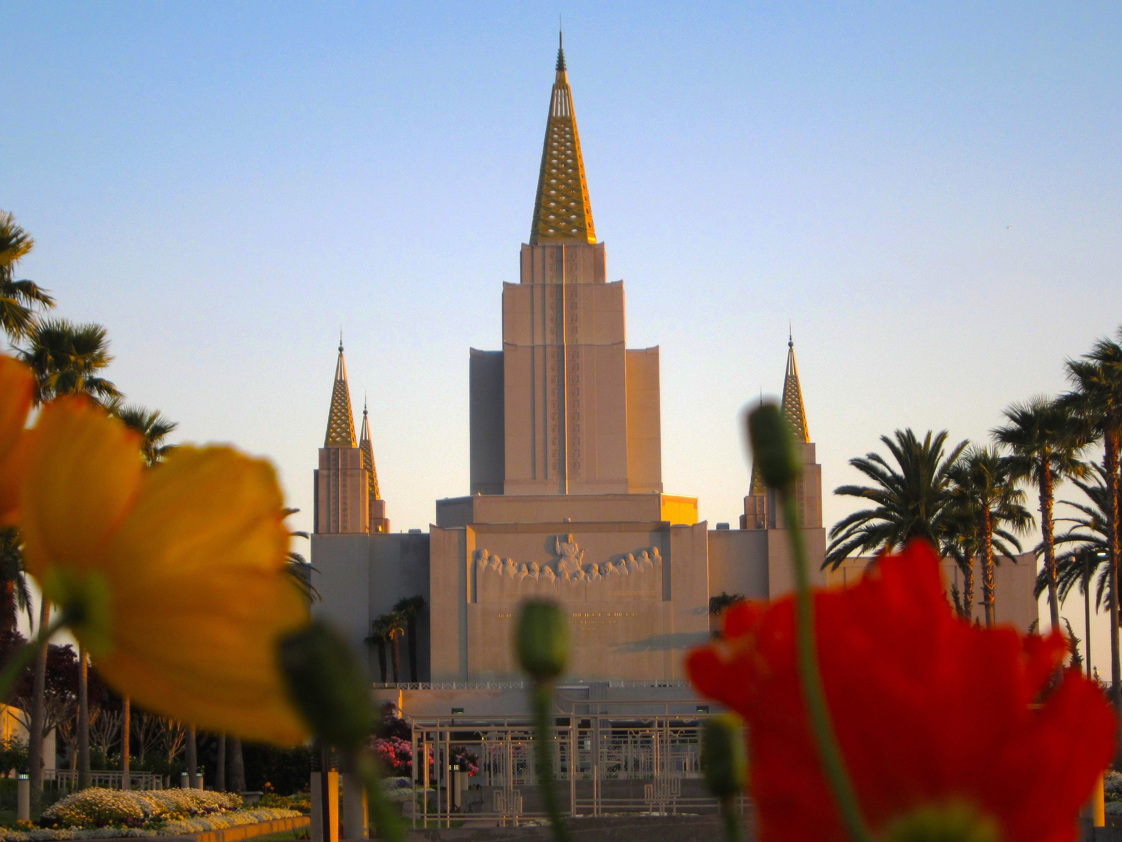 The Oakland California Temple, including the entrance and scenery.