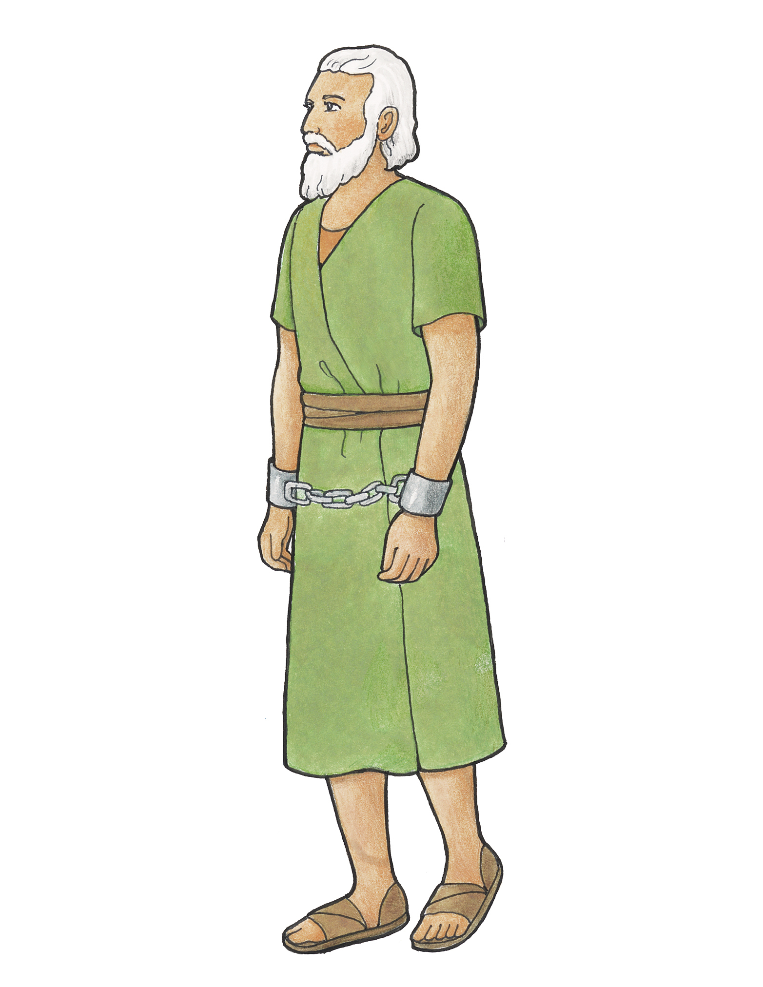 Abinadi, a character from the Book of Mormon, dressed in traditional clothing.