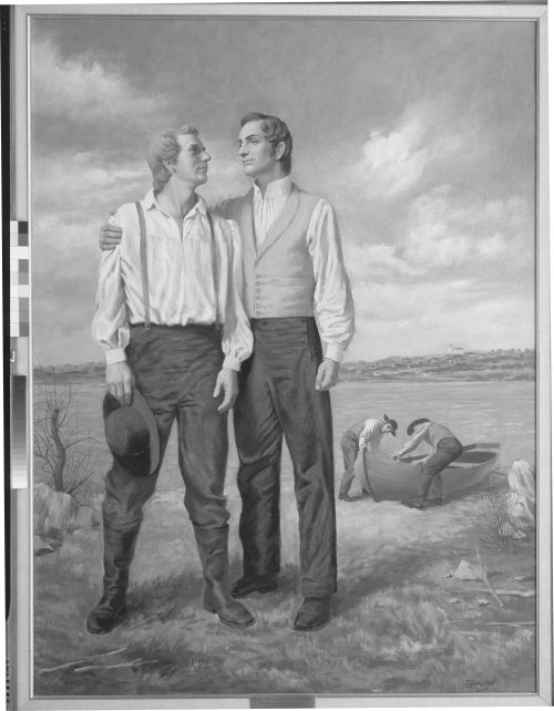 Joseph and Hyrum Smith Standing by River