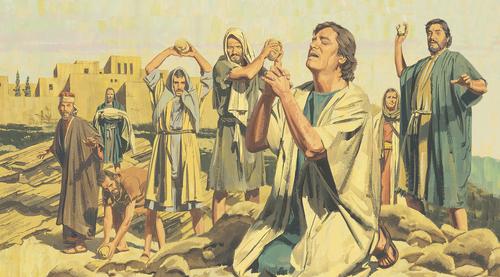 people throwing stones at Stephen