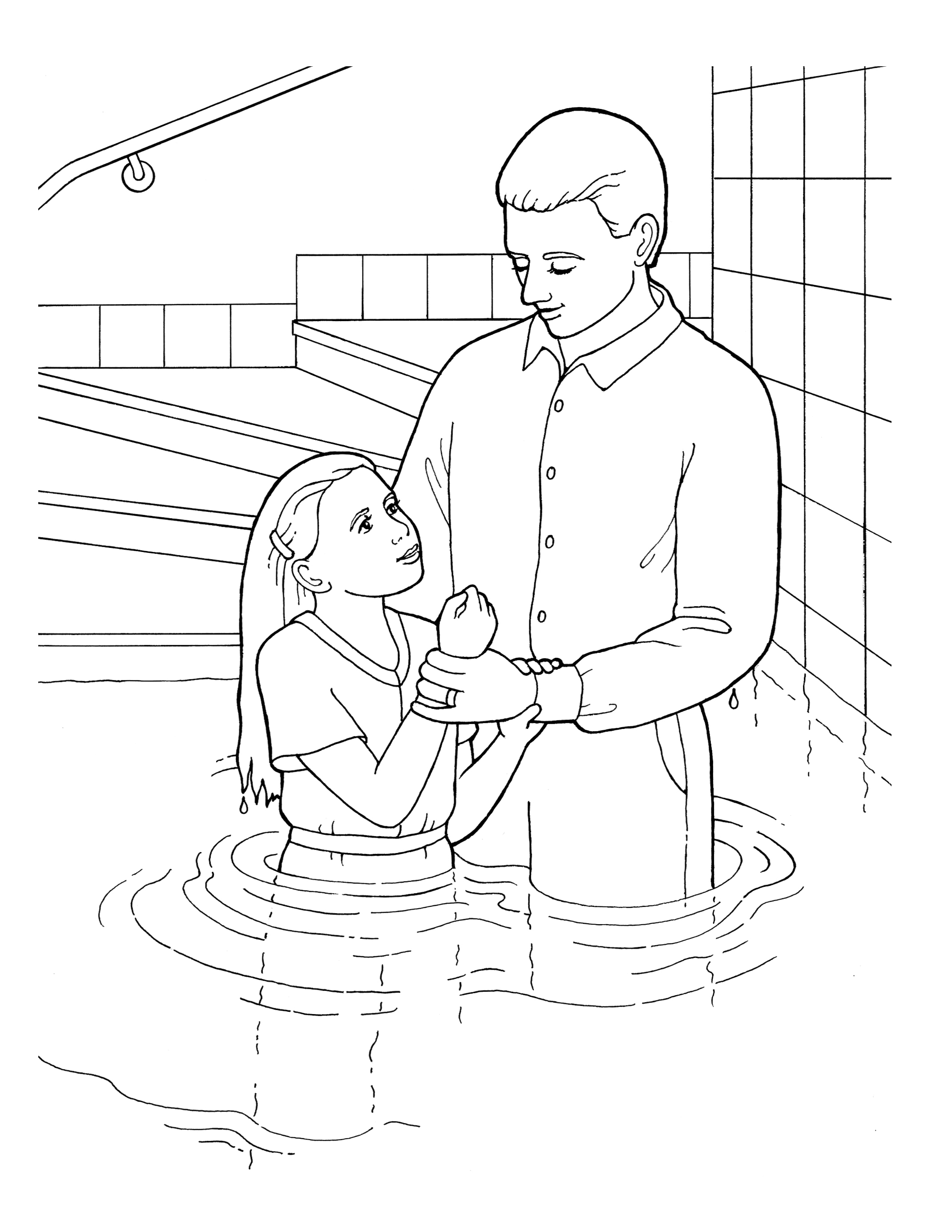 An illustration of a young girl being baptized.