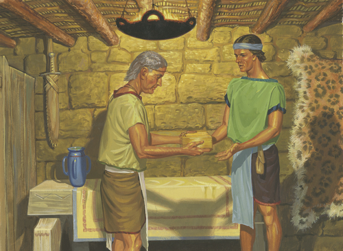 Nephi giving records to son