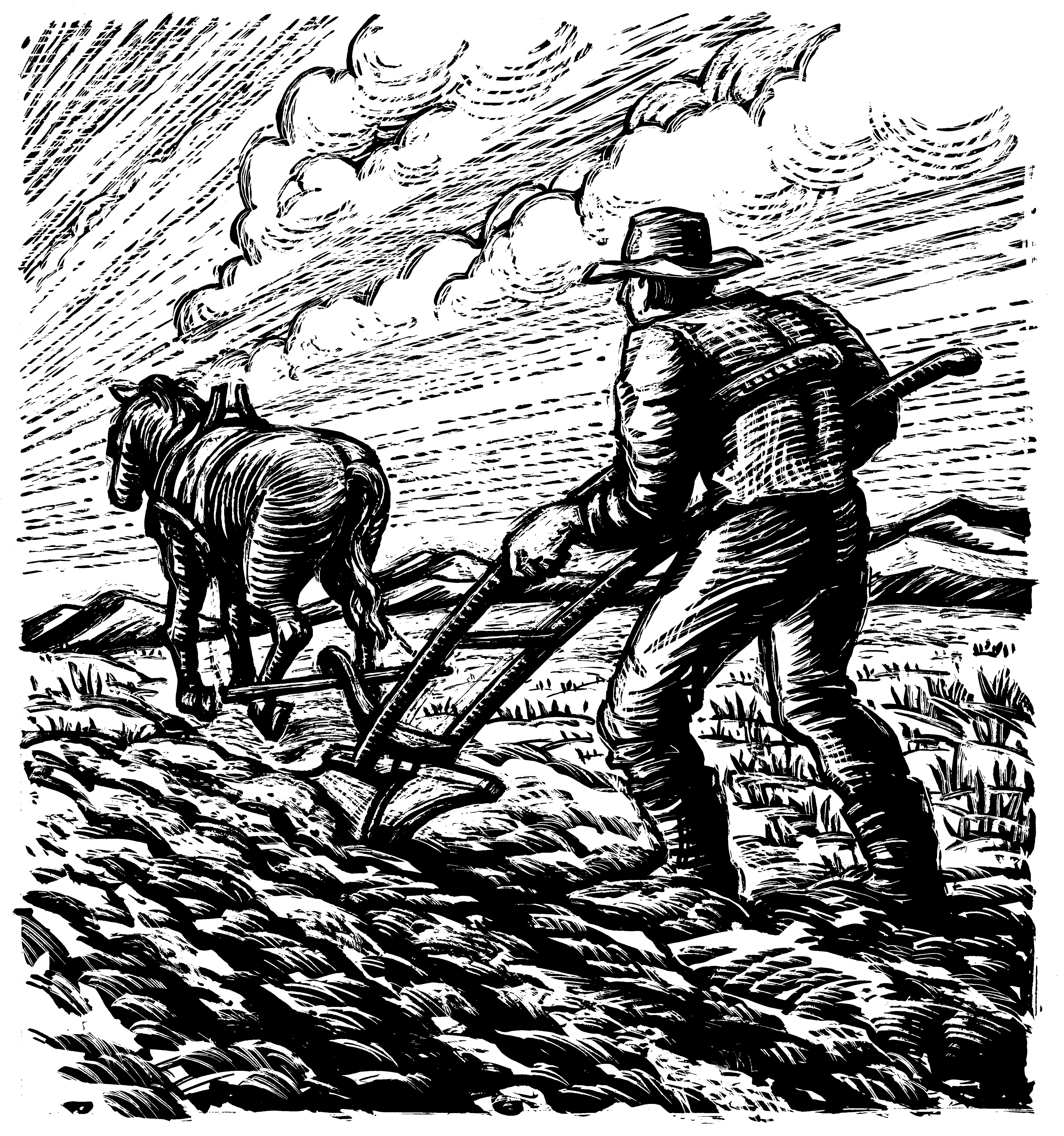 An illustration of a man plowing a field.