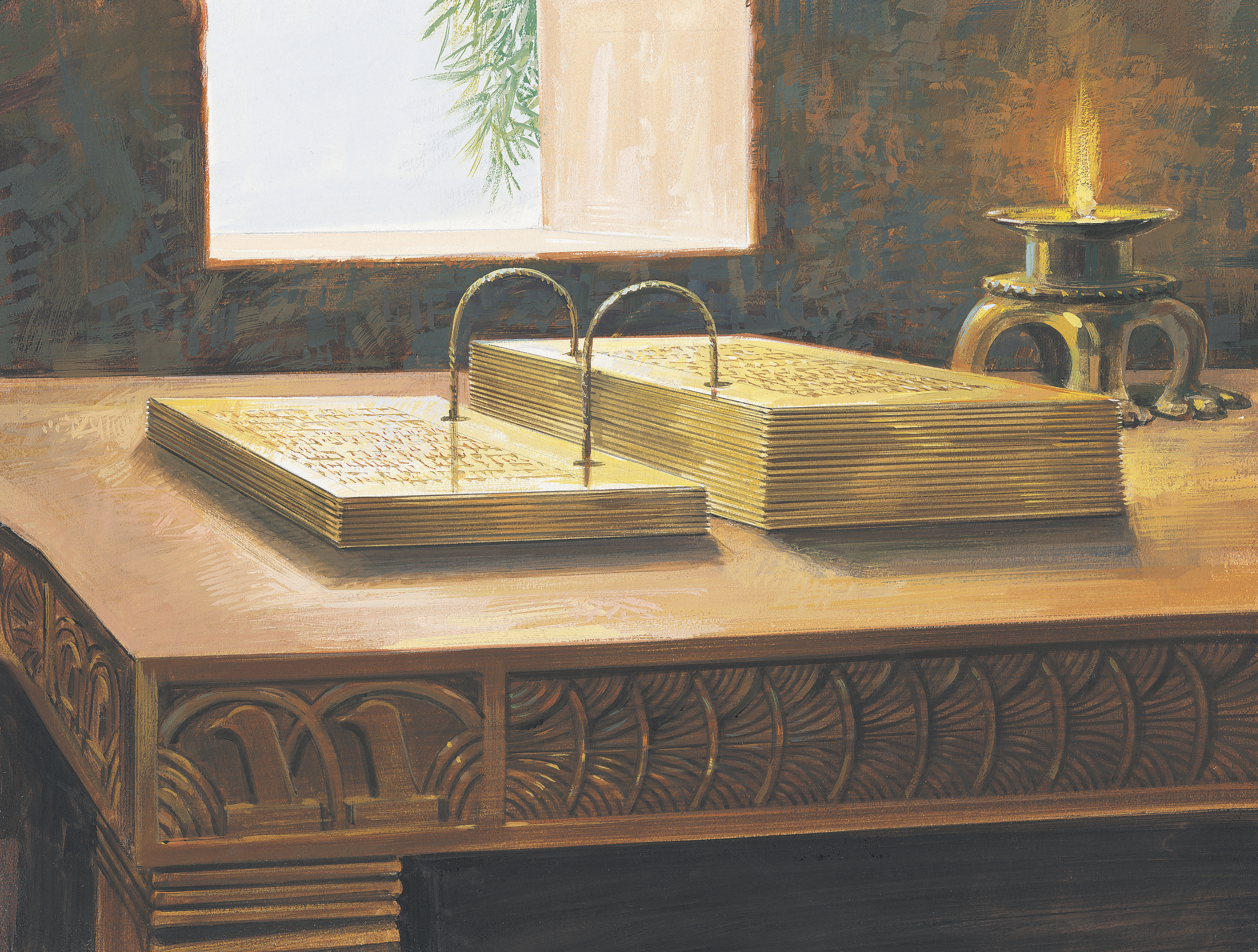 A painting by Jerry Thompson depicting the gold plates lying open on a table.