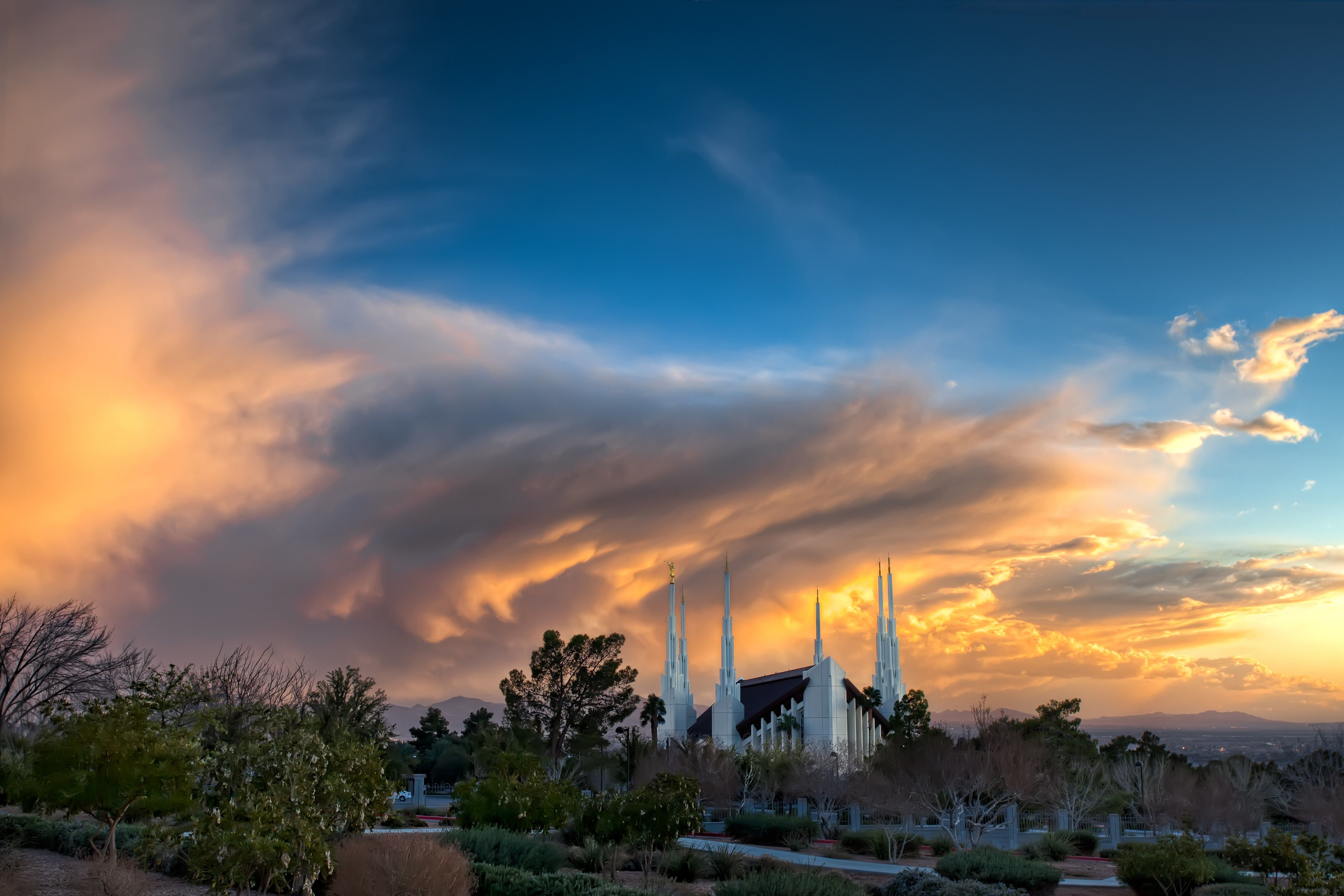 The Las Vegas Nevada Temple at sunset, including scenery.