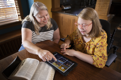 Mother and Daughter Study Together