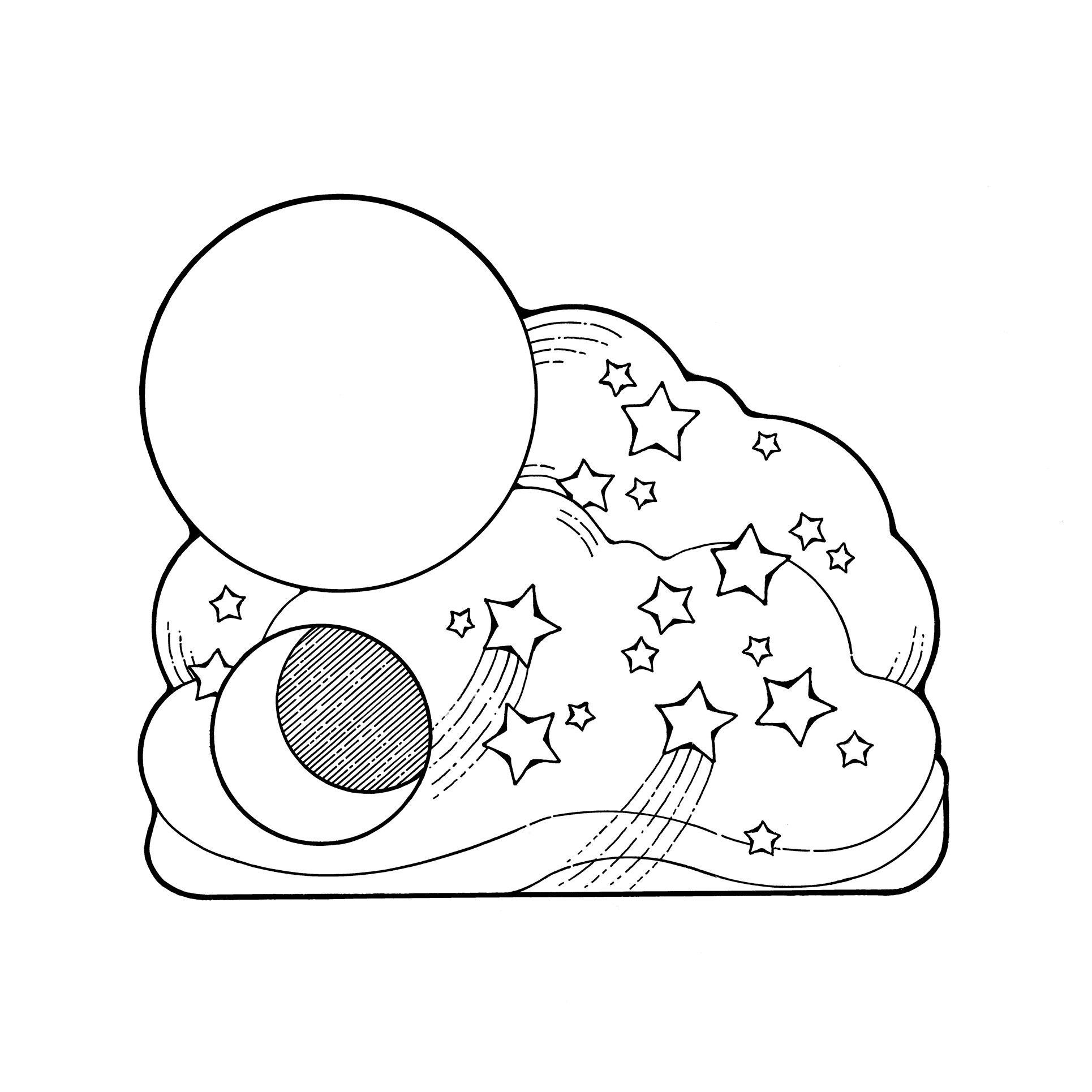 An illustration of the sun, moon, and stars.