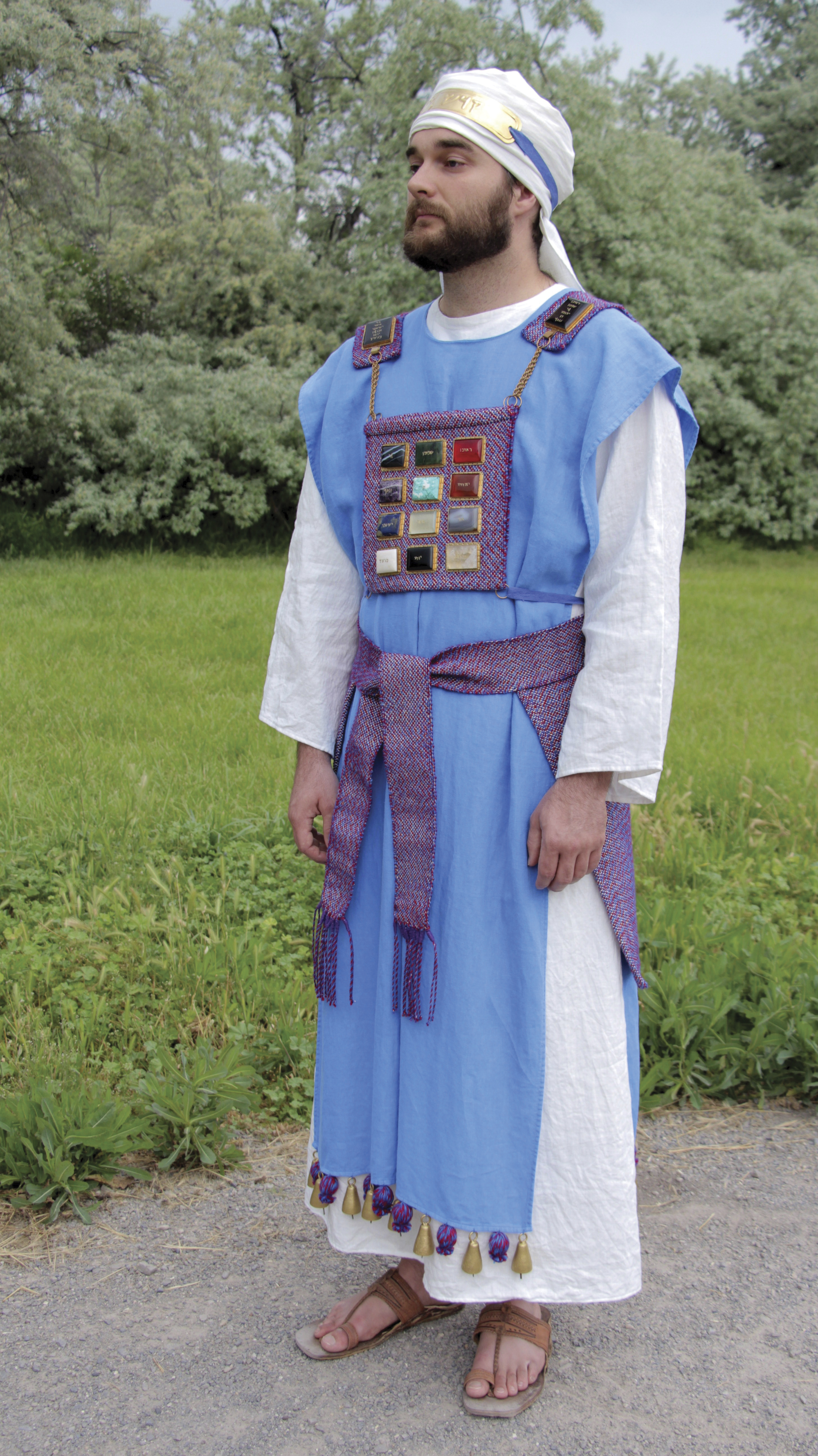 A model wearing the clothing of an Old Testament high priest, created by Israel Daniel Smith.