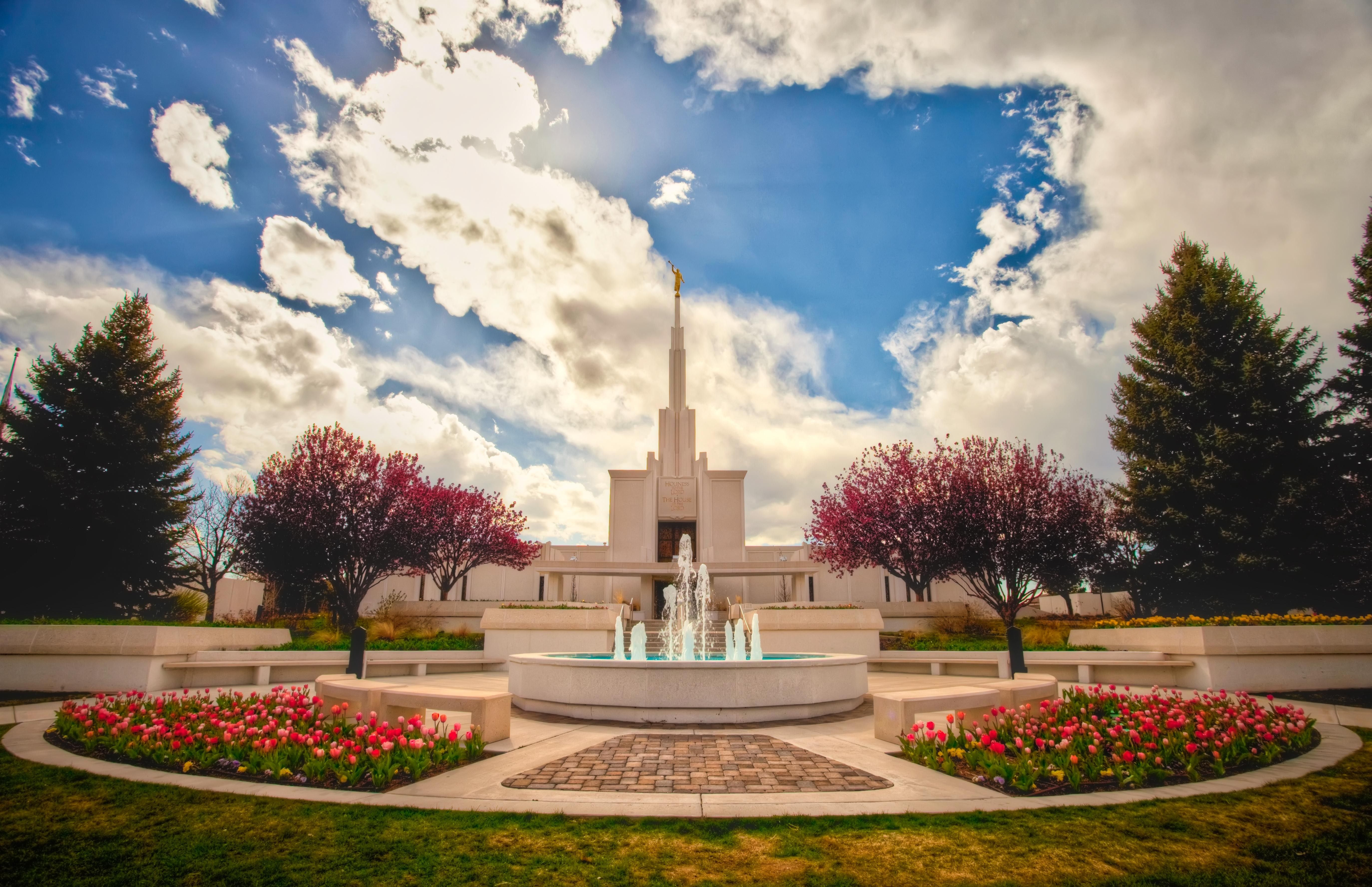 A landscape view of the Denver Colorado Temple and temple grounds.
