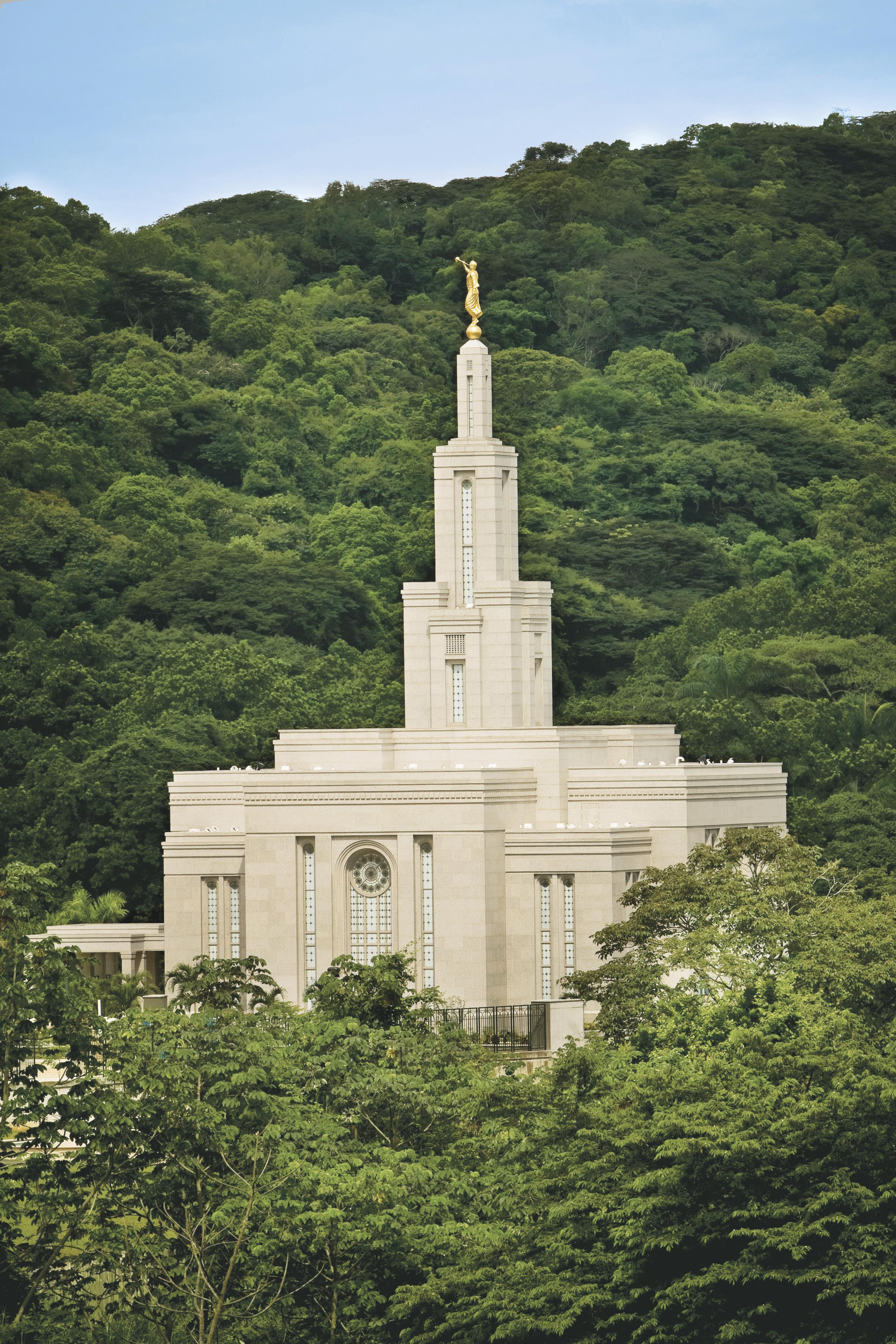 The Panama City Panama Temple exterior, including scenery.