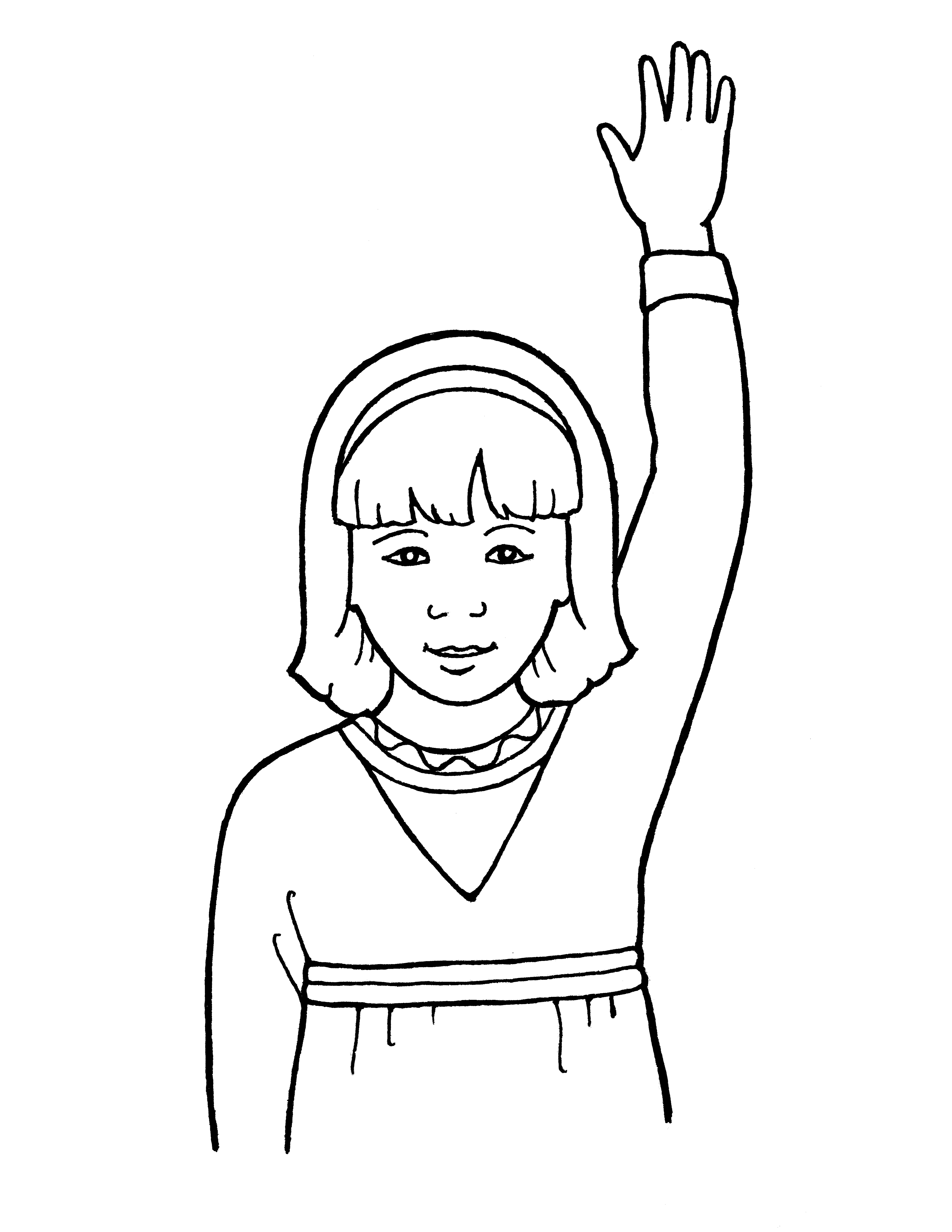 An illustration of a young girl reverently raising her hand.