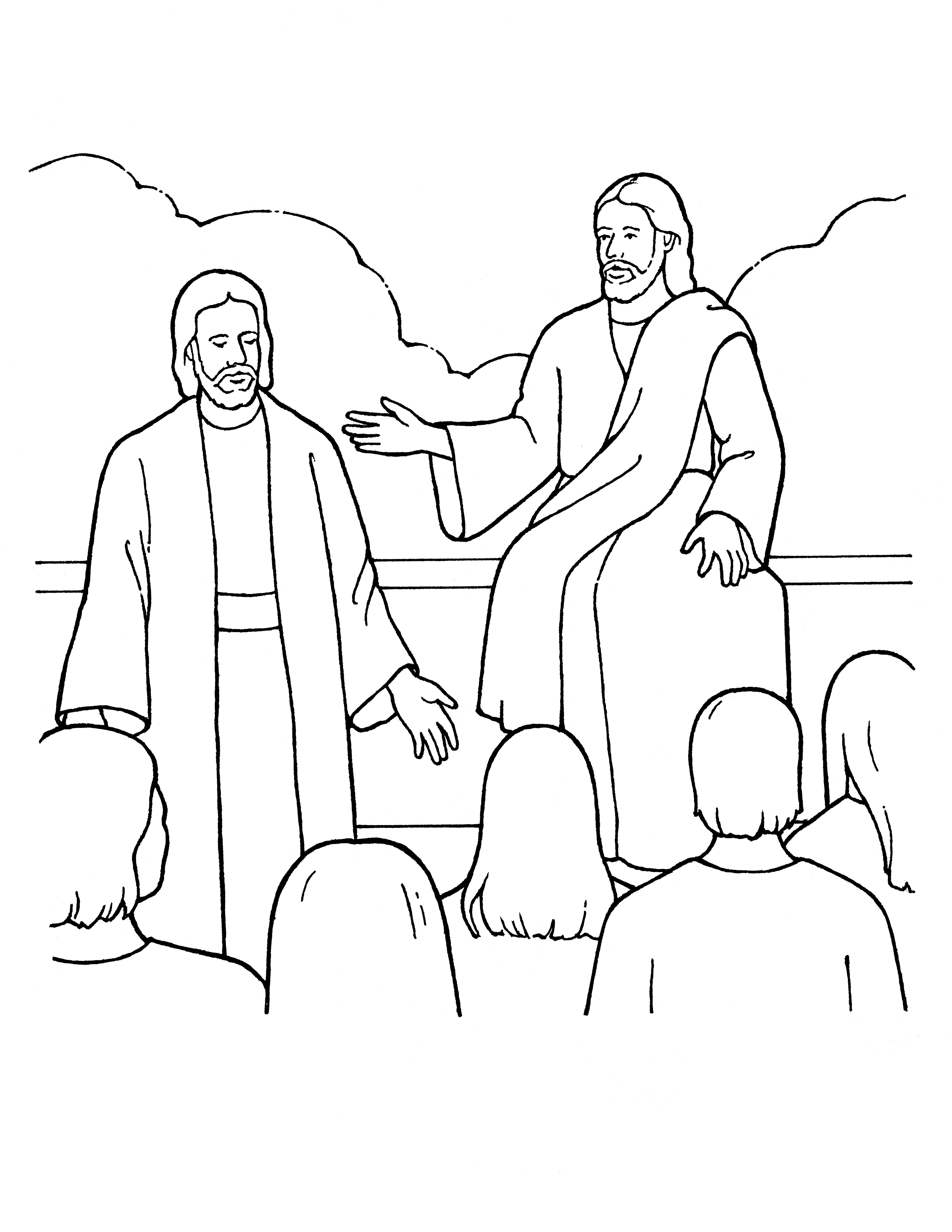 An illustration of Heavenly Father and Jesus Christ presenting the plan in the premortal life, from the nursery manual Behold Your Little Ones (2008), page 15.