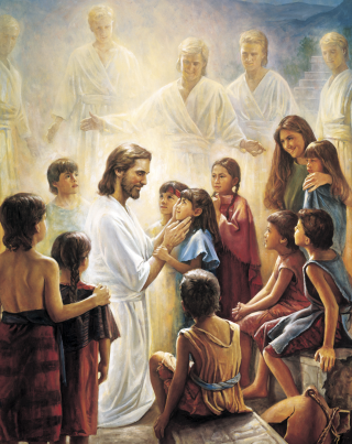 Christ and the Book of Mormon Children, by Del Parson