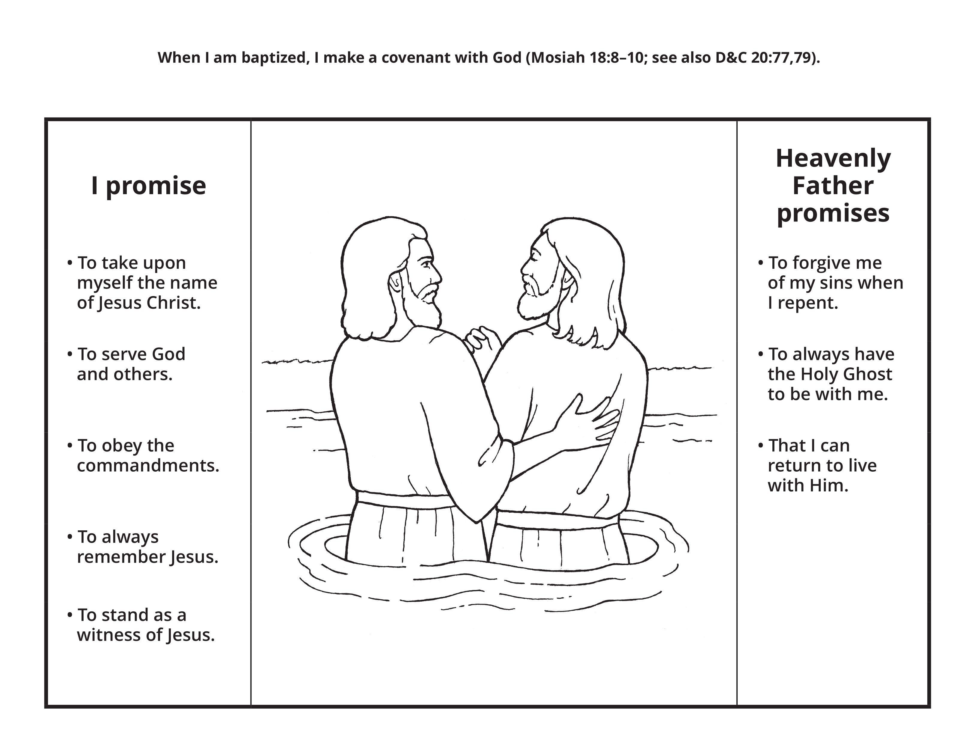 Line art depicting the baptism of Jesus.