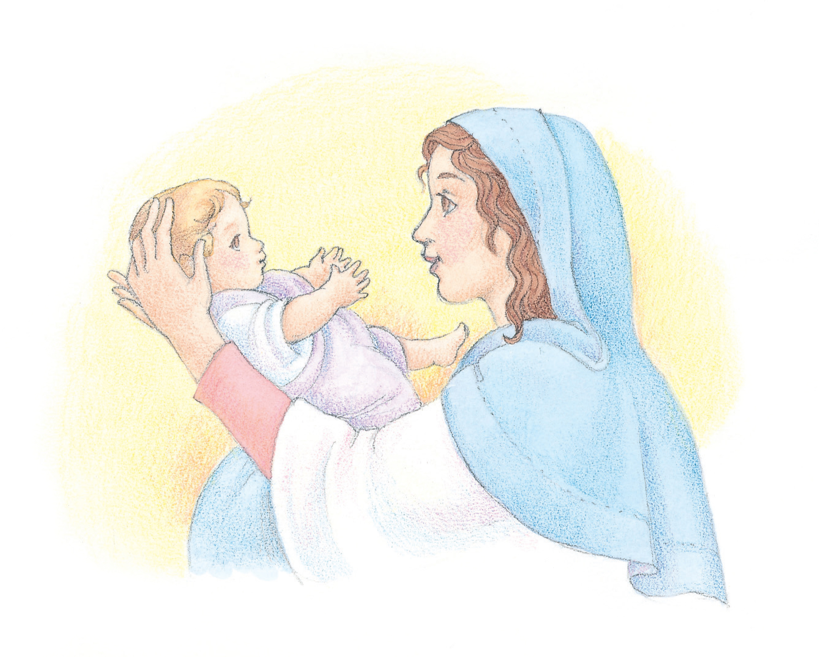 """Mary holding the baby Jesus. From the Children's Songbook, page 44, """"Mary's Lullaby""""; watercolor illustration by Phyllis Luch."""