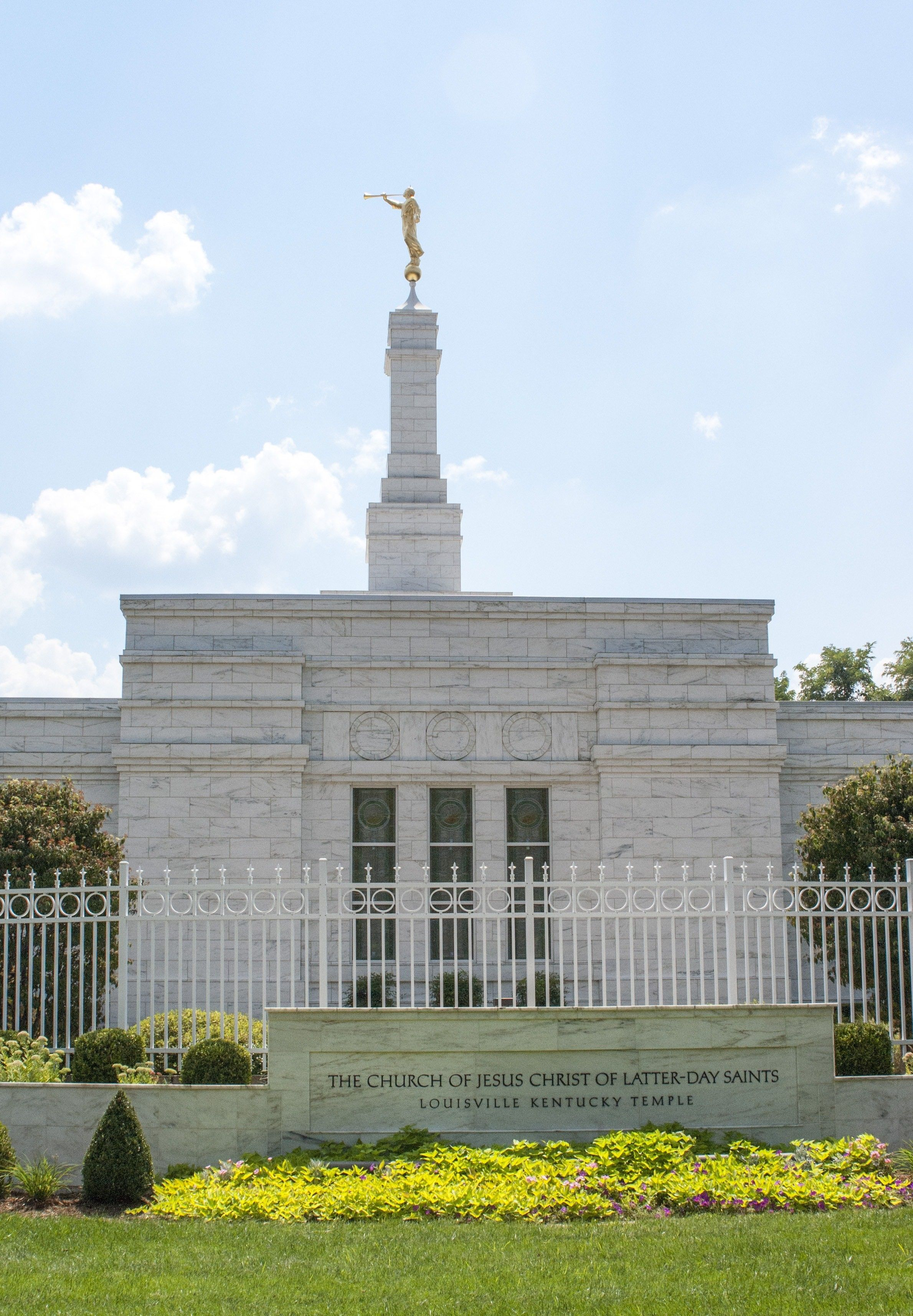 The Louisville Kentucky Temple name sign, including the exterior of the temple.