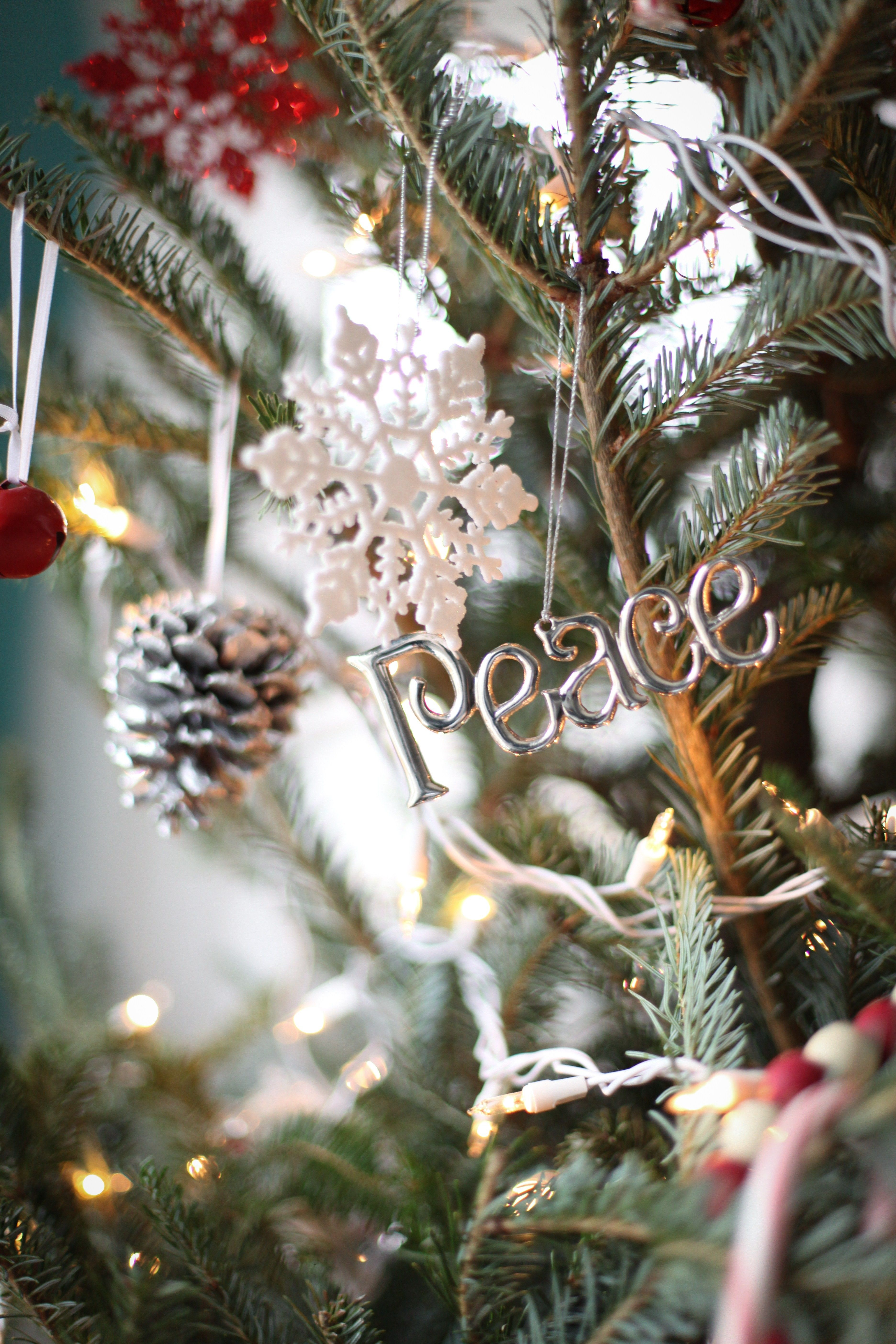 An image of Christmas ornaments on a tree.